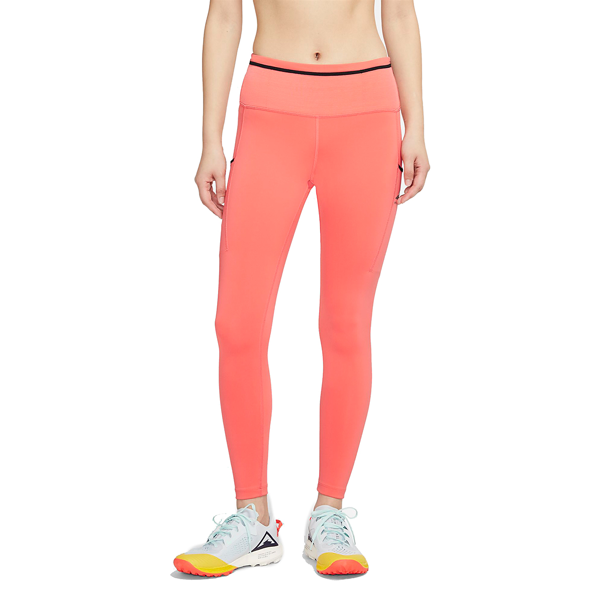 Women's Nike Epic Luxe Trail Running Tights - Color: Magic Ember/Black/Reflective Silver - Size: XXS, Magic Ember/Black/Reflective Silver, large, image 1