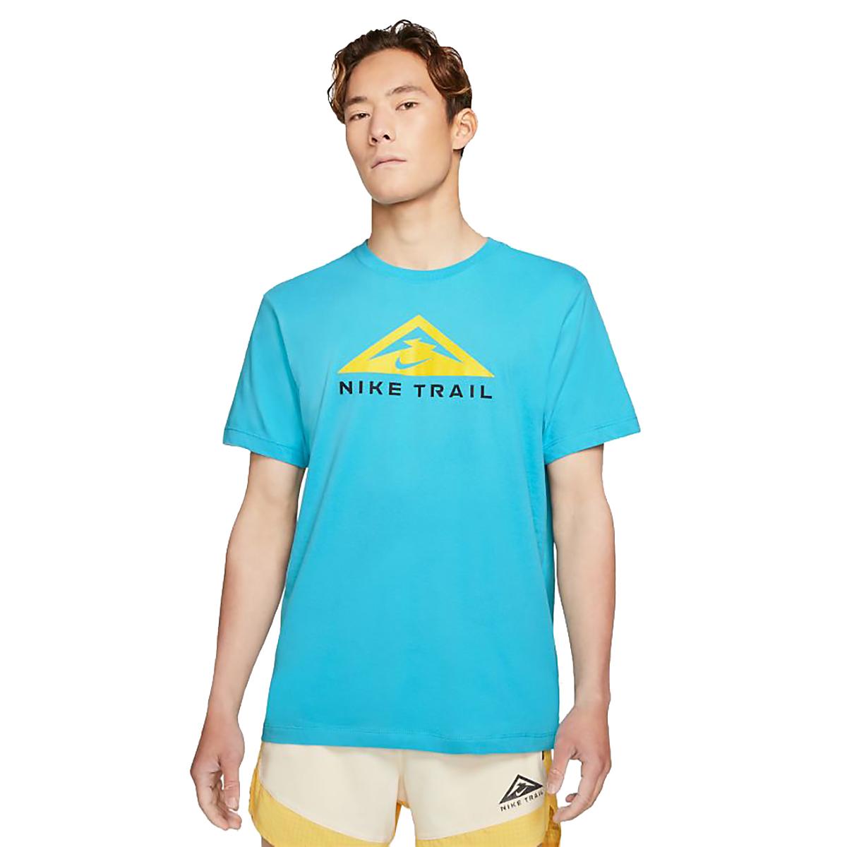 Men's Nike Dri-FIT Short-Sleeve Trail Running T-Shirt - Color: Chlorine Blue - Size: XS, Chlorine Blue, large, image 1