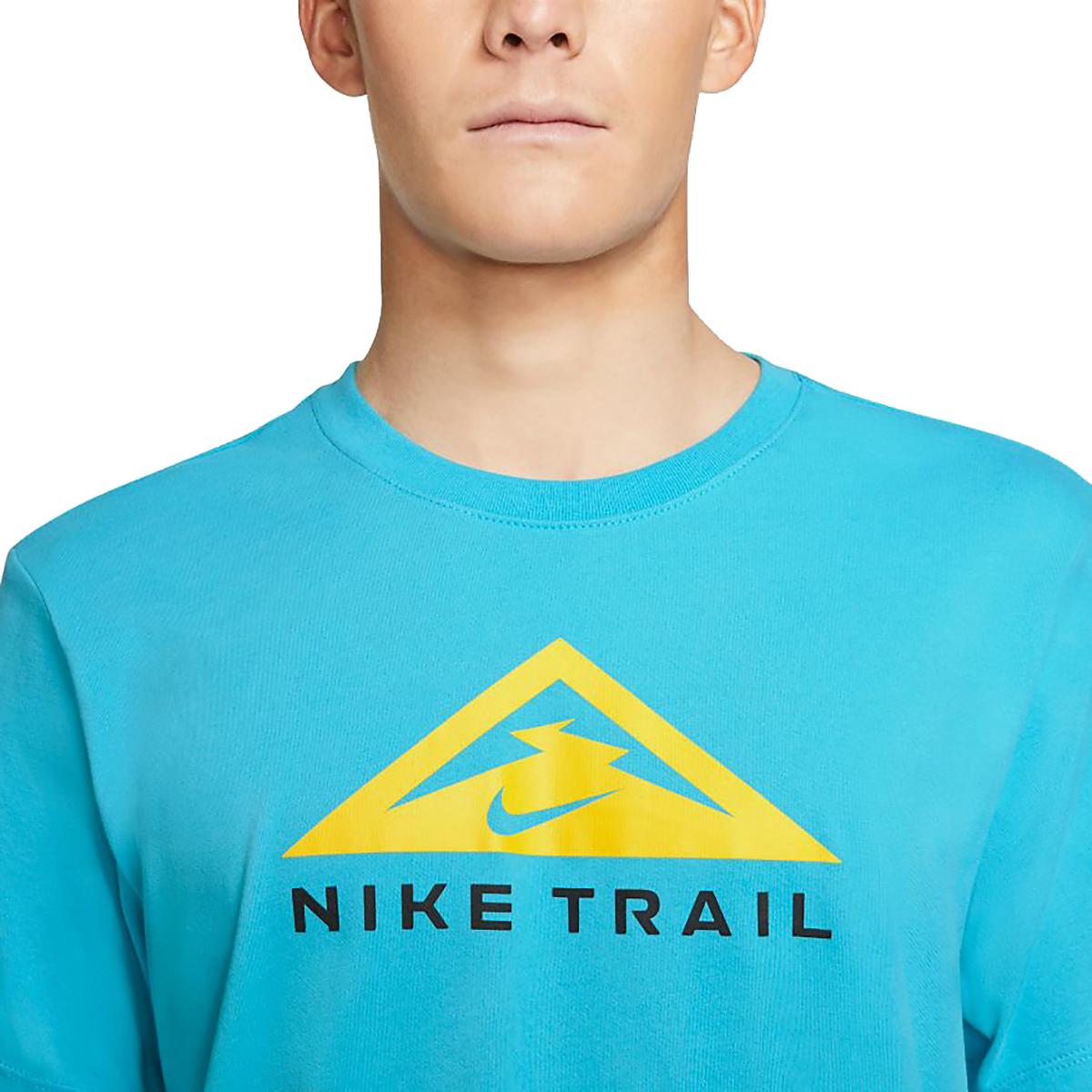 Men's Nike Dri-FIT Short-Sleeve Trail Running T-Shirt - Color: Chlorine Blue - Size: XS, Chlorine Blue, large, image 3
