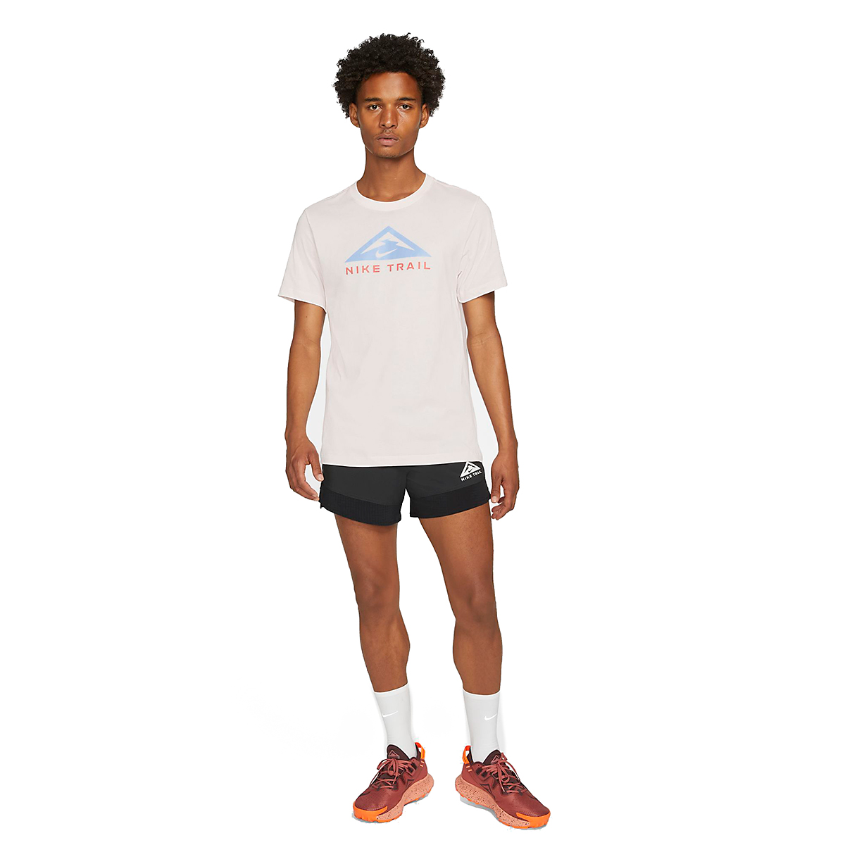 Men's Nike Dri-FIT Short Sleeve Trail Running T-Shirt - Color: Light Soft Pink - Size: XS, Light Soft Pink, large, image 4