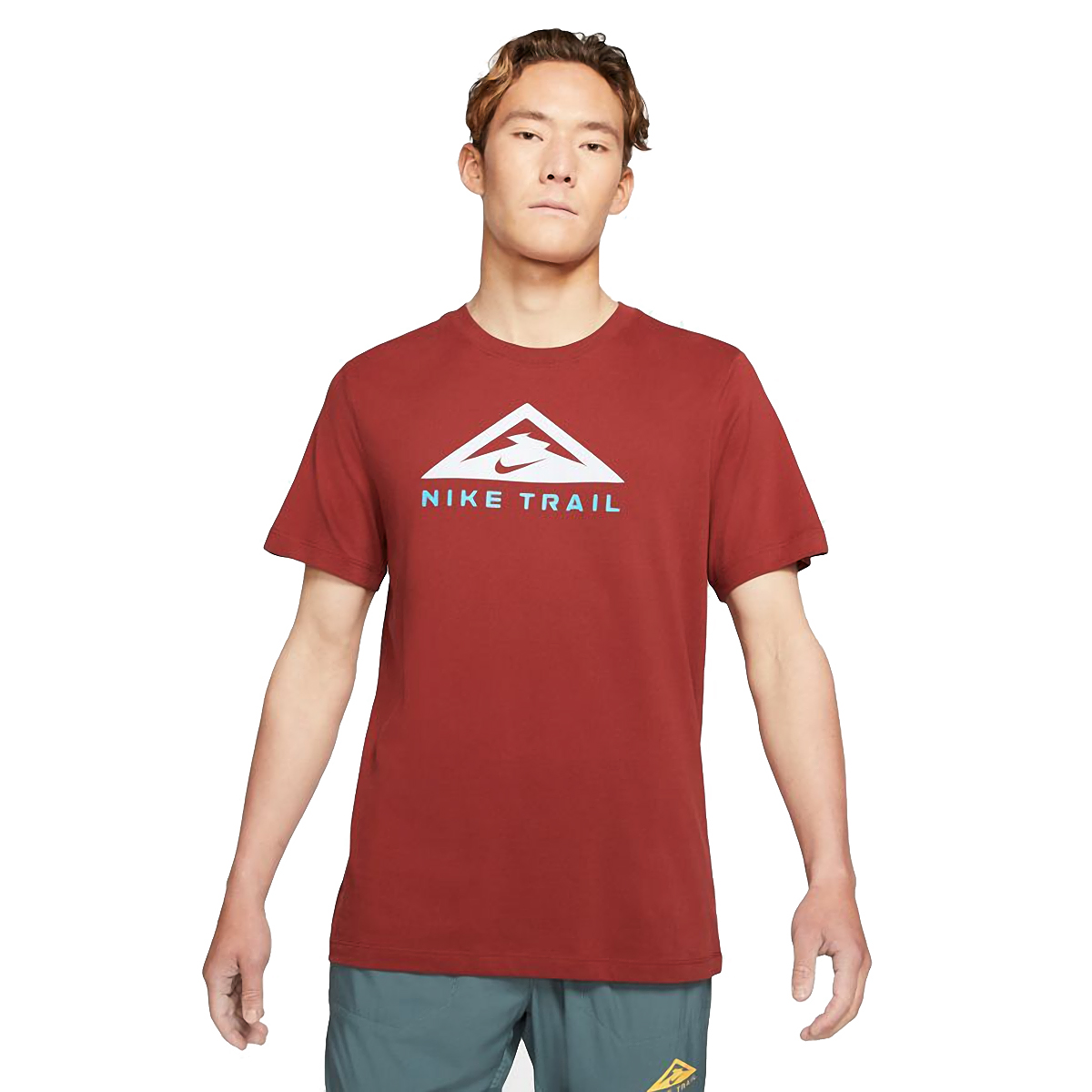 Men's Nike Dri-FIT Short-Sleeve Trail Running T-Shirt - Color: Dark Cayenne - Size: XS, Dark Cayenne, large, image 1