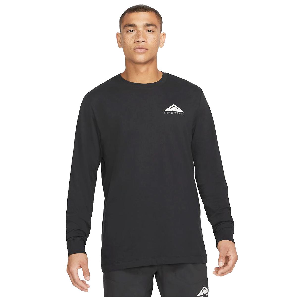 Men's Nike Dri-FIT Long-Sleeve Trail Running T-Shirt - Color: Black - Size: XS, Black, large, image 1
