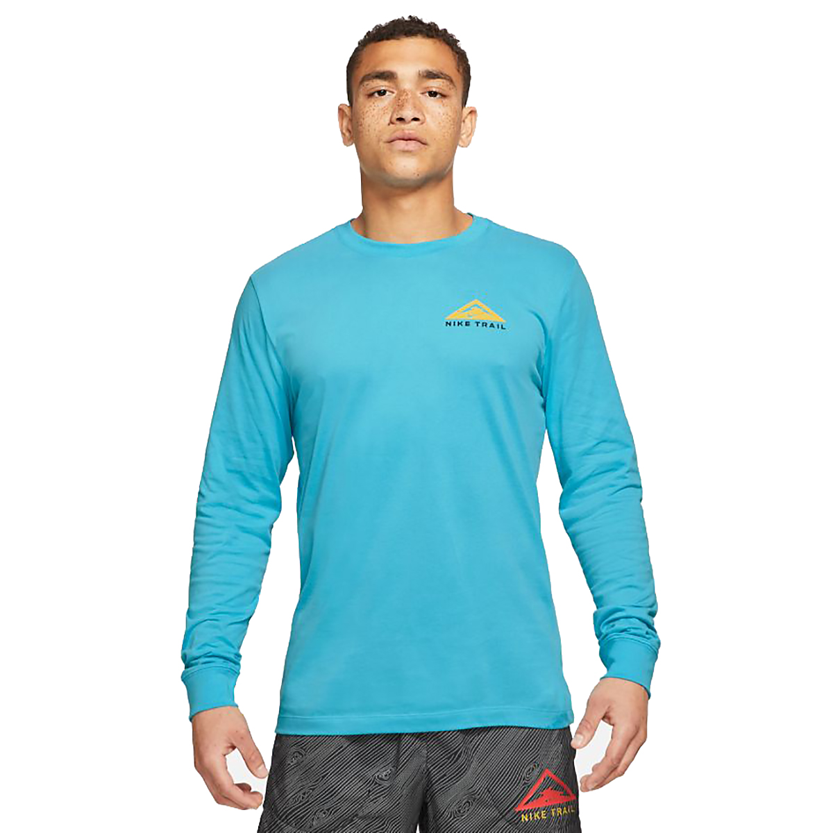 Men's Nike Dri-FIT Long-Sleeve Trail Running T-Shirt - Color: Chlorine Blue - Size: XS, Chlorine Blue, large, image 1