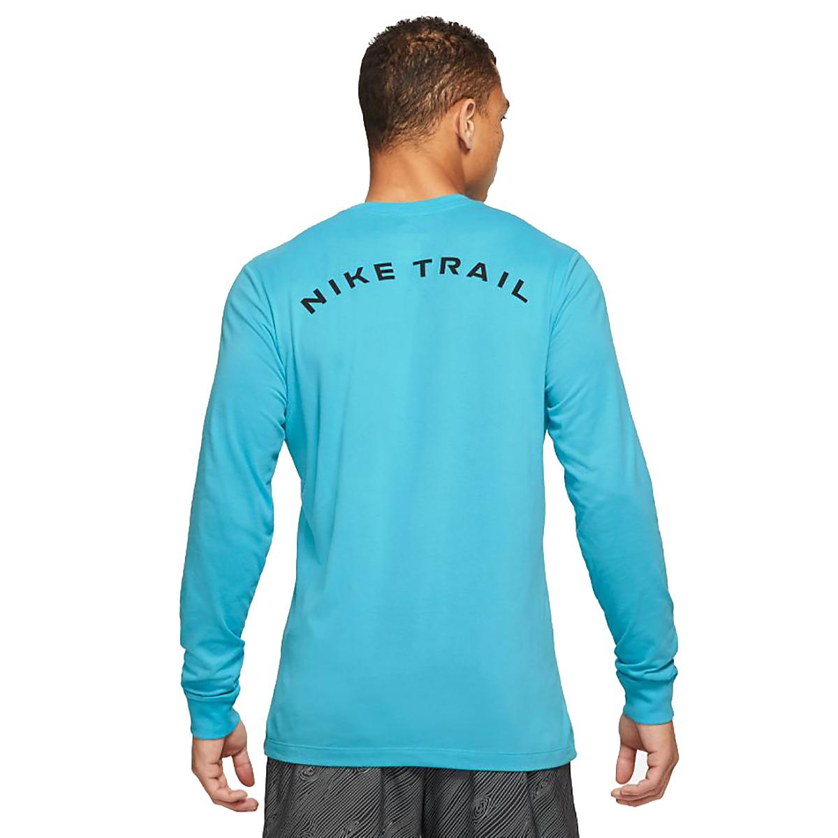 Men's Nike Dri-FIT Long-Sleeve Trail Running T-Shirt - Color: Chlorine Blue - Size: XS, Chlorine Blue, large, image 2
