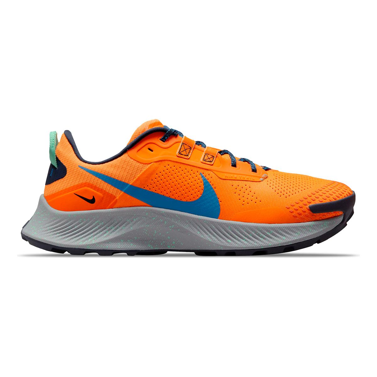 Men's Nike Pegasus Trail 3 Trail Running Shoe - Color: Total Orange/Signal Blue/Wolf Grey - Size: 6 - Width: Regular, Total Orange/Signal Blue/Wolf Grey, large, image 1