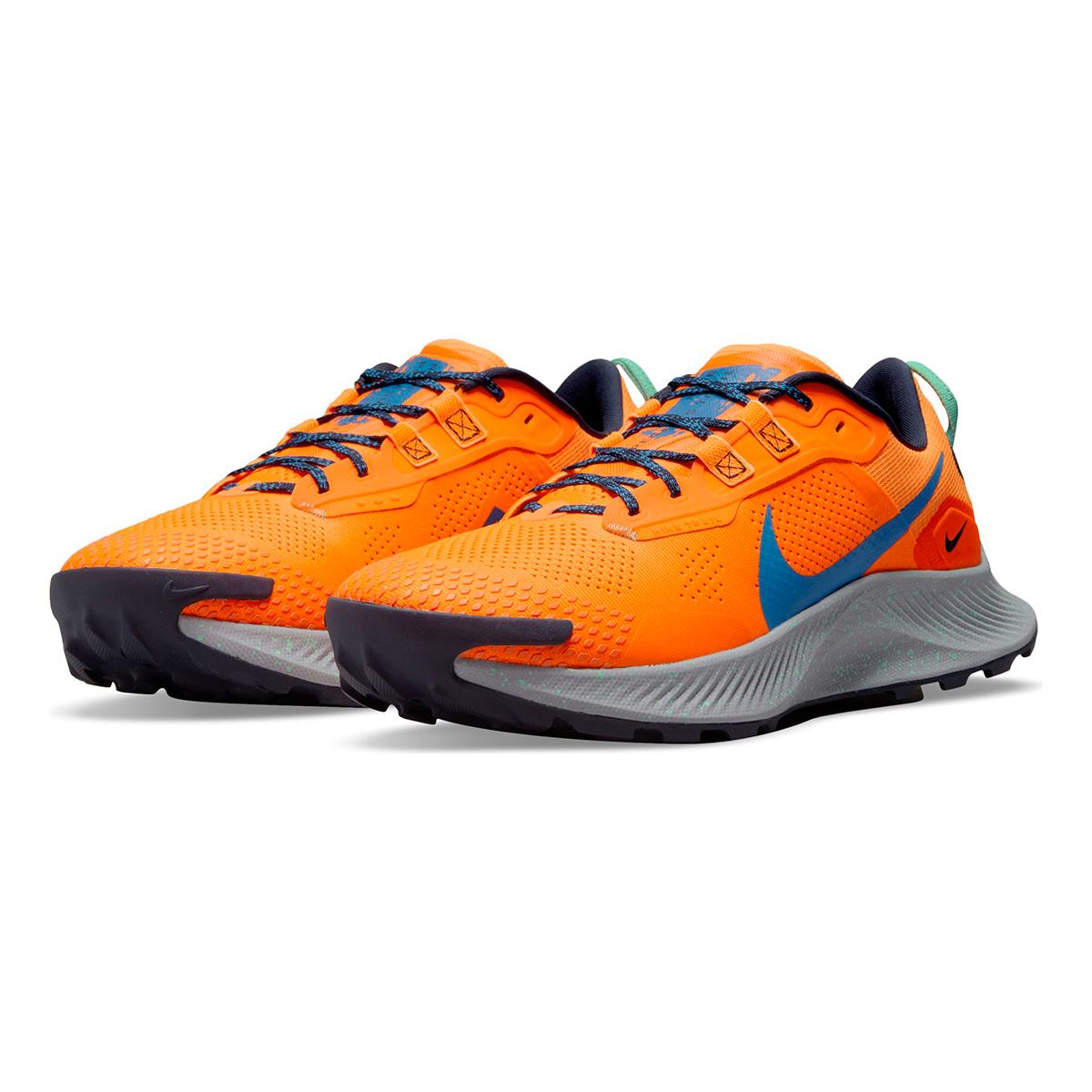 Men's Nike Pegasus Trail 3 Trail Running Shoe - Color: Total Orange/Signal Blue/Wolf Grey - Size: 6 - Width: Regular, Total Orange/Signal Blue/Wolf Grey, large, image 3