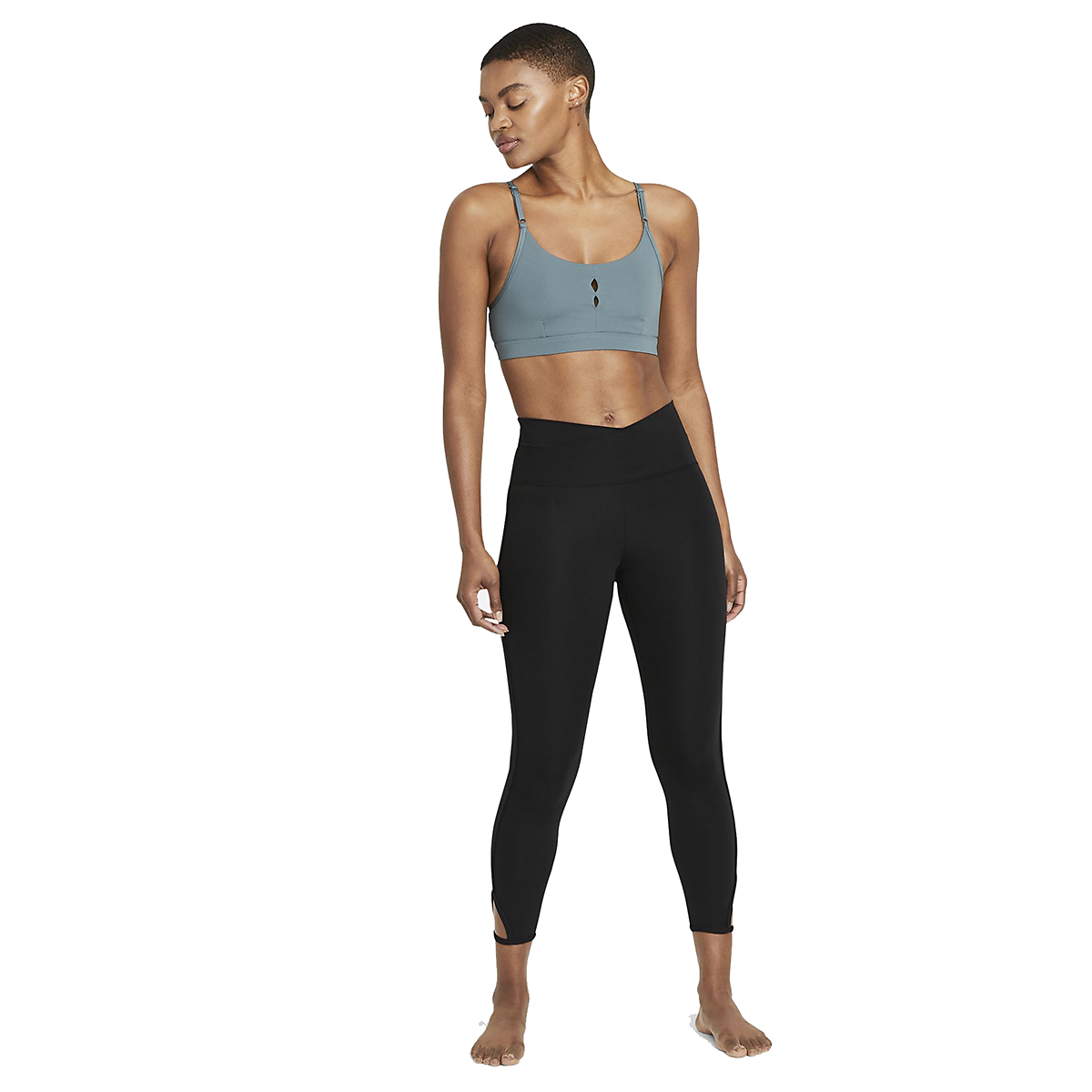 Women's Nike Yoga Dri-FIT Indy Essentials Bra - Color: Hasta/Dark Teal - Size: XS, Hasta/Dark Teal, large, image 4