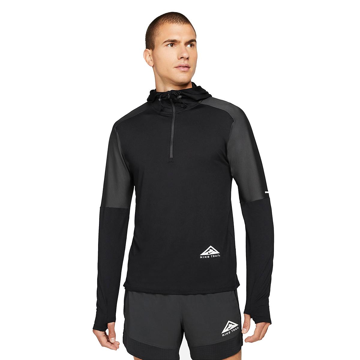 Men's Nike Dri-FIT Element 1/2-Zip Trail Running Top - Color: Black/Black/Dark Smoke Grey/White - Size: XS, Black/Black/Dark Smoke Grey/White, large, image 1