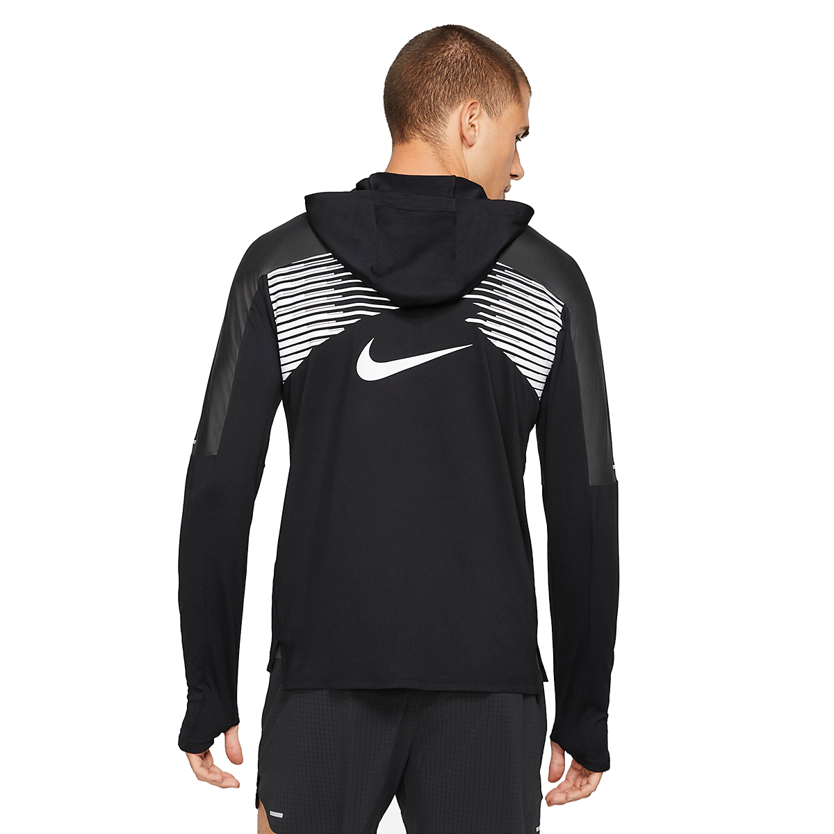 Men's Nike Dri-FIT Element 1/2-Zip Trail Running Top - Color: Black/Black/Dark Smoke Grey/White - Size: XS, Black/Black/Dark Smoke Grey/White, large, image 2