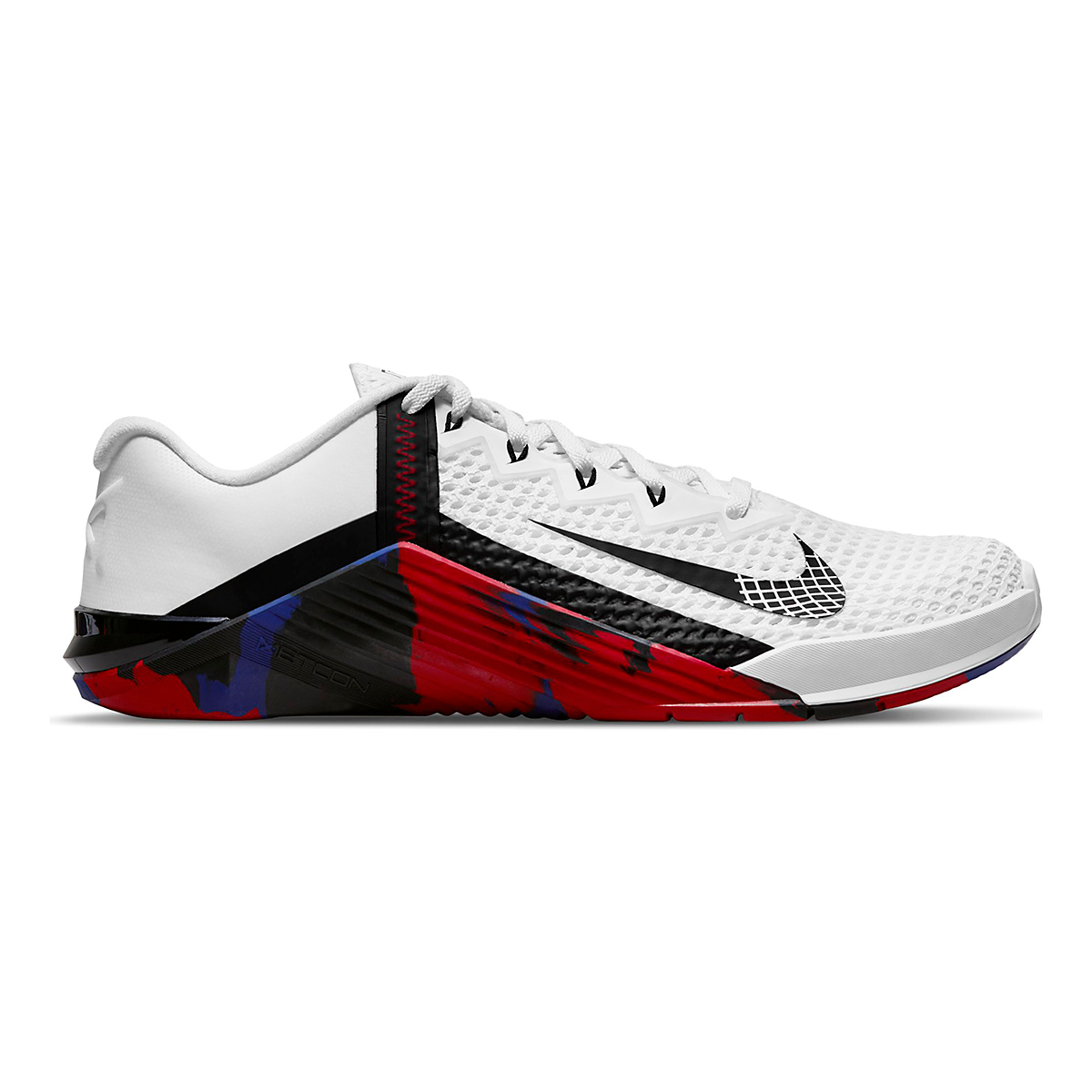 Men's Nike Metcon 6 Training Shoe - Color: White/Black/Gym Red/Deep Royal Blue - Size: 4 - Width: Regular, White/Black/Gym Red/Deep Royal Blue, large, image 1