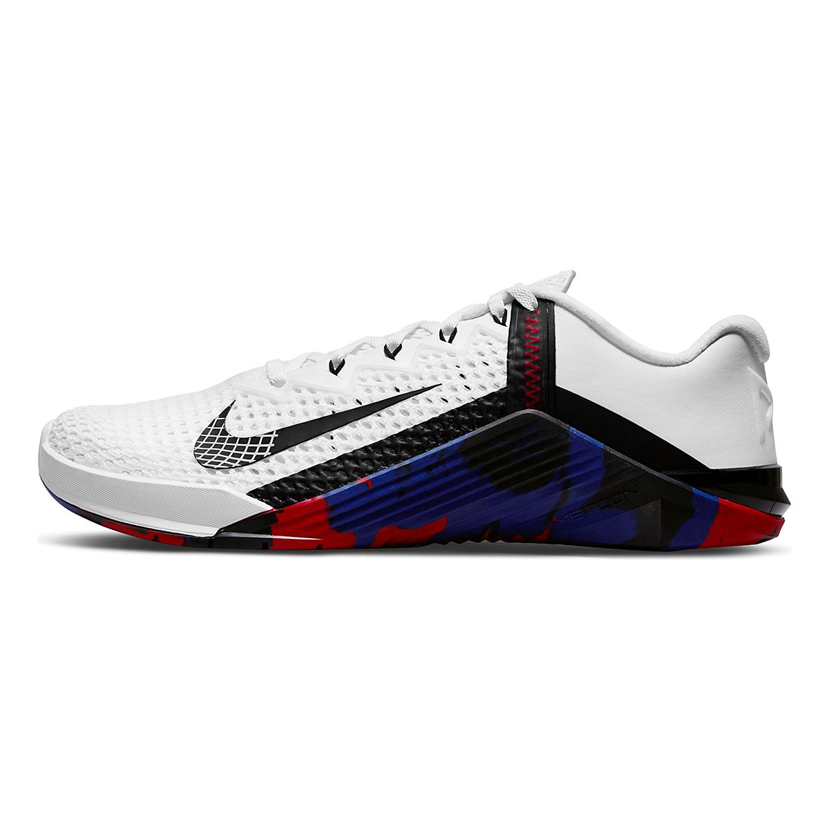 Men's Nike Metcon 6 Training Shoe - Color: White/Black/Gym Red/Deep Royal Blue - Size: 4 - Width: Regular, White/Black/Gym Red/Deep Royal Blue, large, image 2