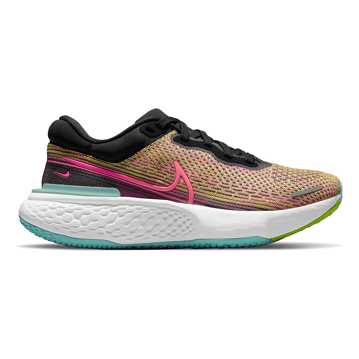 Women's Nike Zoomx Invincible Run FlyKnit Running Shoe - Color: Volt/Bright Mango/Black/Light Dew - Size: 5 - Width: Regular, Volt/Bright Mango/Black/Light Dew, large, image 1
