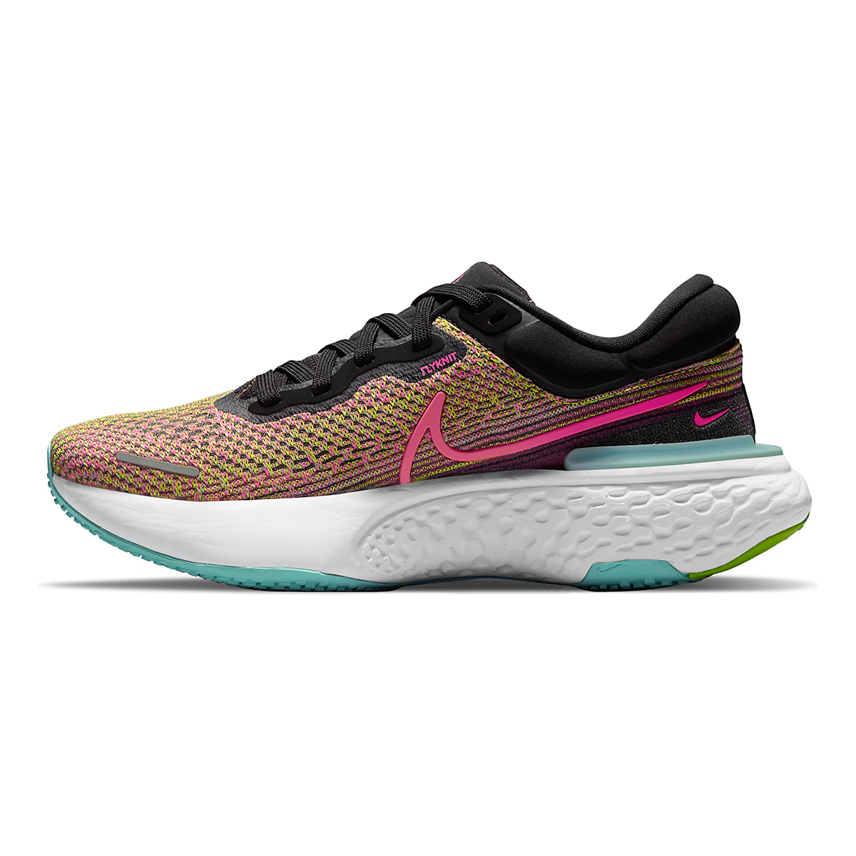 Women's Nike Zoomx Invincible Run FlyKnit Running Shoe - Color: Volt/Bright Mango/Black/Light Dew - Size: 5 - Width: Regular, Volt/Bright Mango/Black/Light Dew, large, image 2