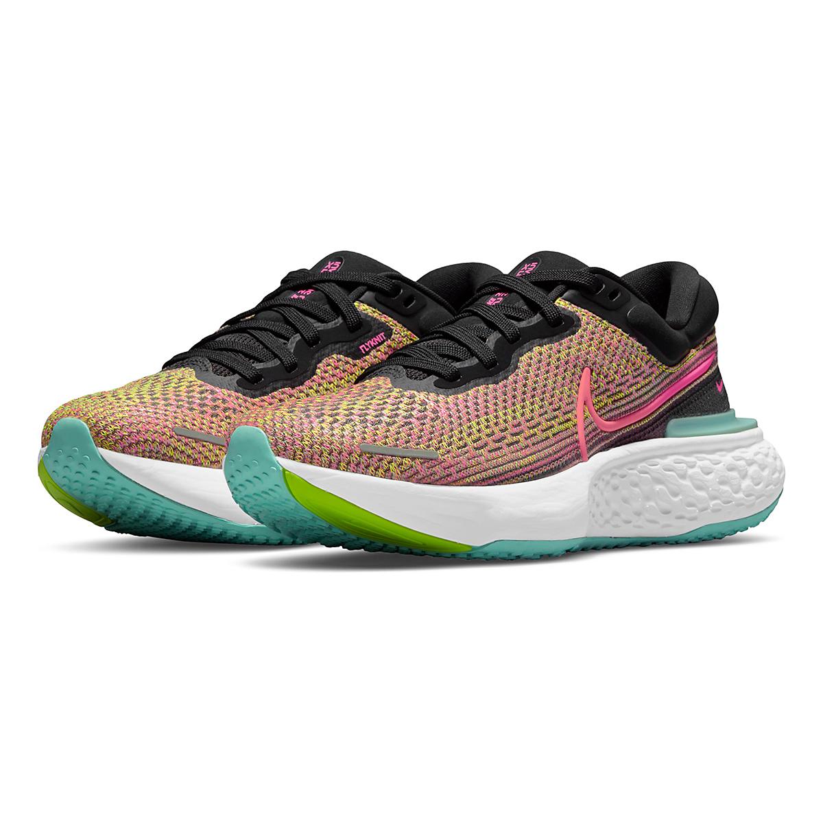 Women's Nike Zoomx Invincible Run FlyKnit Running Shoe - Color: Volt/Bright Mango/Black/Light Dew - Size: 5 - Width: Regular, Volt/Bright Mango/Black/Light Dew, large, image 3