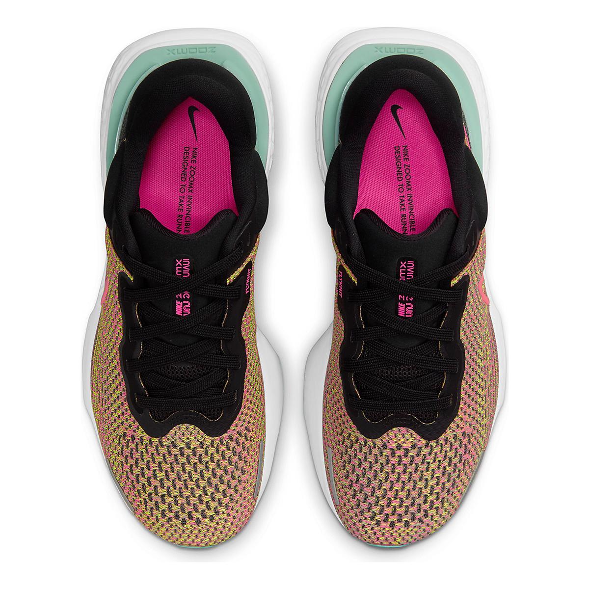 Women's Nike Zoomx Invincible Run FlyKnit Running Shoe - Color: Volt/Bright Mango/Black/Light Dew - Size: 5 - Width: Regular, Volt/Bright Mango/Black/Light Dew, large, image 4