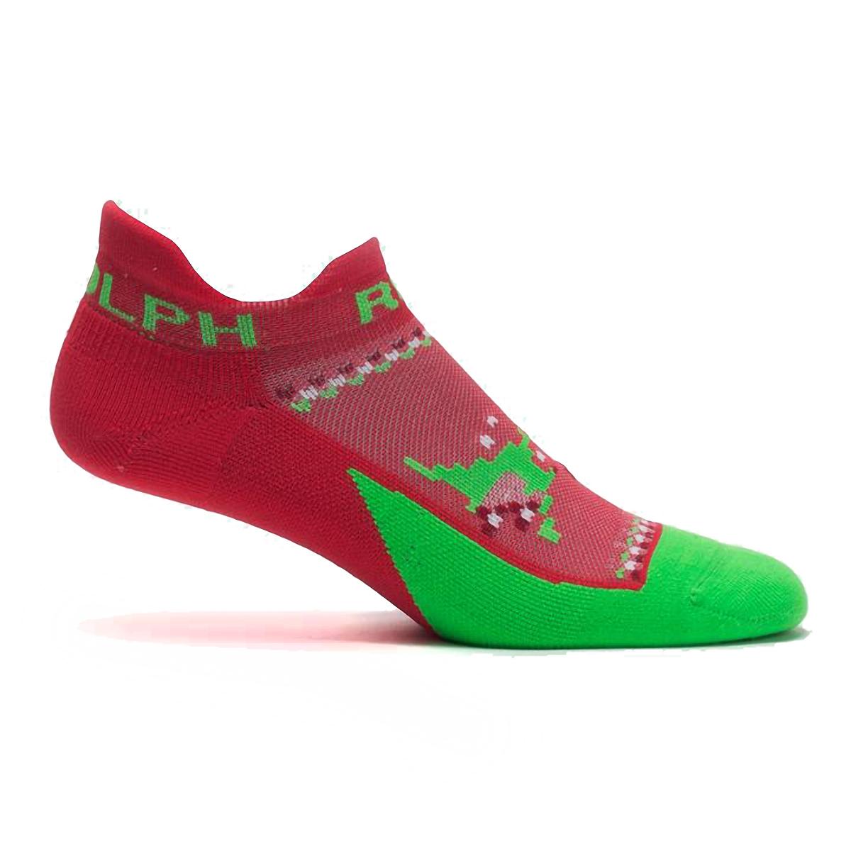 Feetures Elite Light Cushion No Show Tab Socks - Color: Run Rudolph - Size: S, Run Rudolph, large, image 1