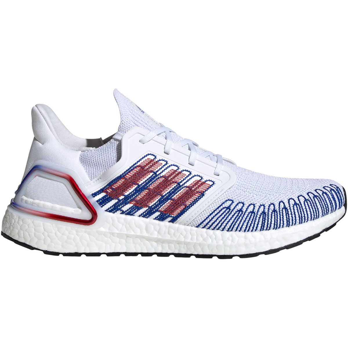 Men's Adidas Ultraboost 20 Running Shoe - Color: Cloud White/Scarlet/Royal Blue - Size: 6.5 - Width: Regular, Cloud White/Scarlet/Royal Blue, large, image 1