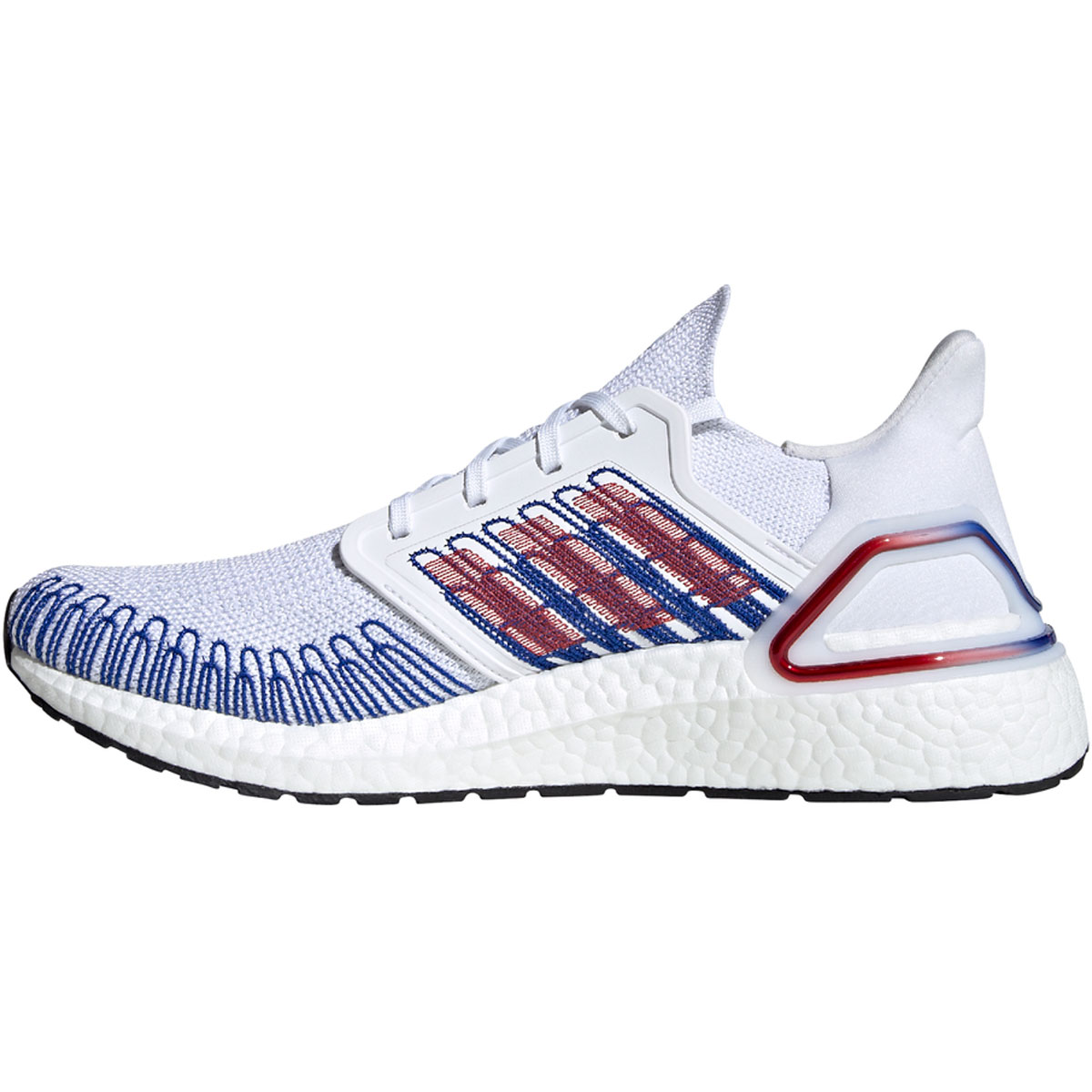 Men's Adidas Ultraboost 20 Running Shoe - Color: Cloud White/Scarlet/Royal Blue - Size: 6.5 - Width: Regular, Cloud White/Scarlet/Royal Blue, large, image 2
