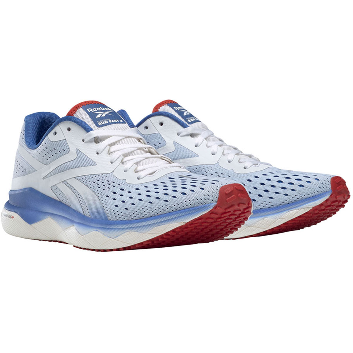 Men's Reebok Floatride Run Fast 2.0 Running Shoe - Color: White/Blue Blast Legacy Red (Regular Width) - Size: 8.5, White/Blue Blast Legacy Red, large, image 2