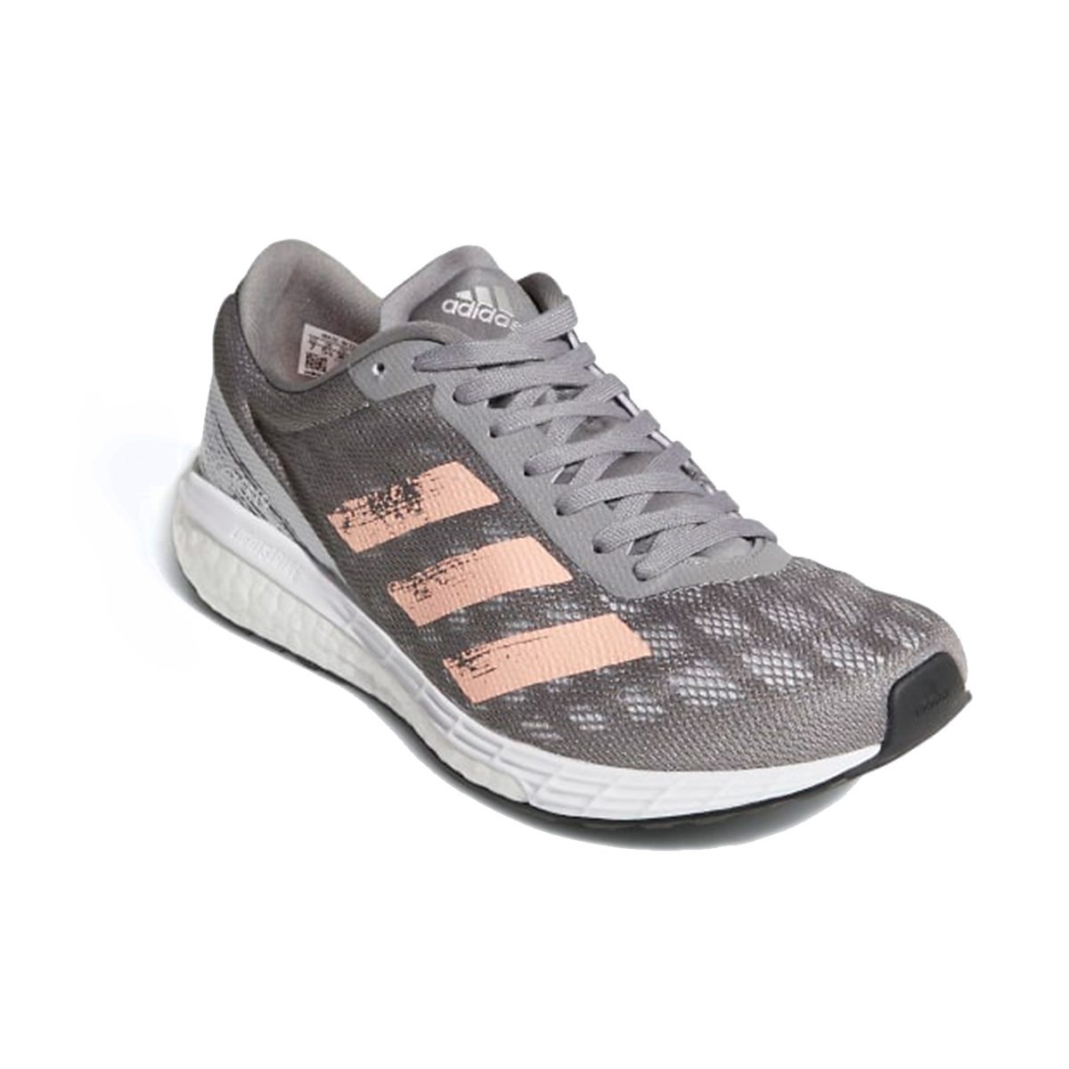 Women's Adidas Adizero Boston 9 Running Shoe - Color: Grey/Light Flash Orange/Silver Metallic - Size: 5 - Width: Regular, Grey/Light Flash Orange/Silver Metallic, large, image 4