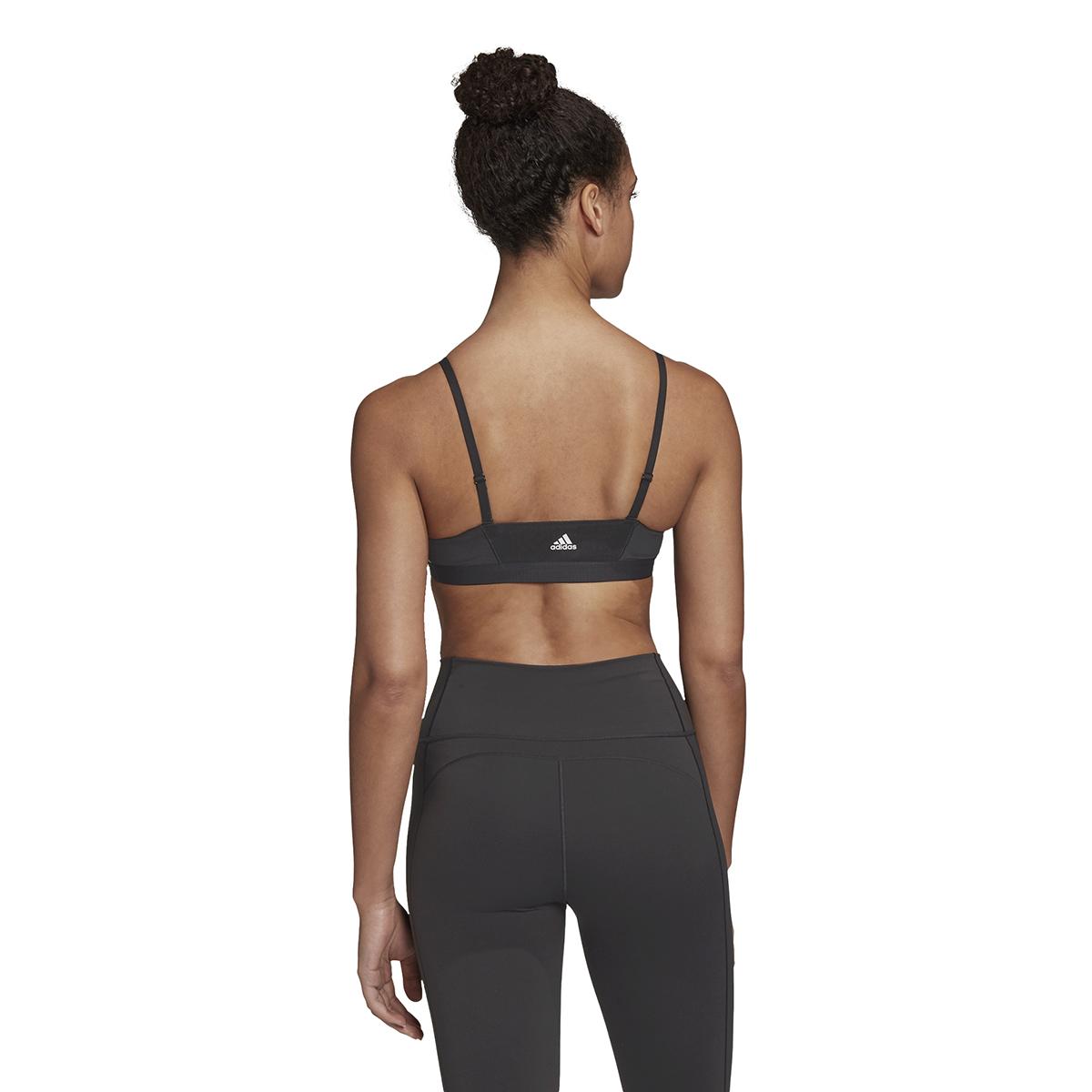 Women's Adidas All Me 3 Stripe Mesh Bra - Color: Black - Size: XXS, Black, large, image 2