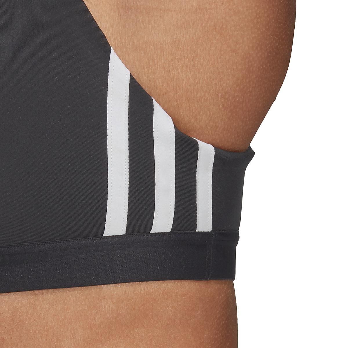 Women's Adidas All Me 3 Stripe Mesh Bra - Color: Black - Size: XXS, Black, large, image 3