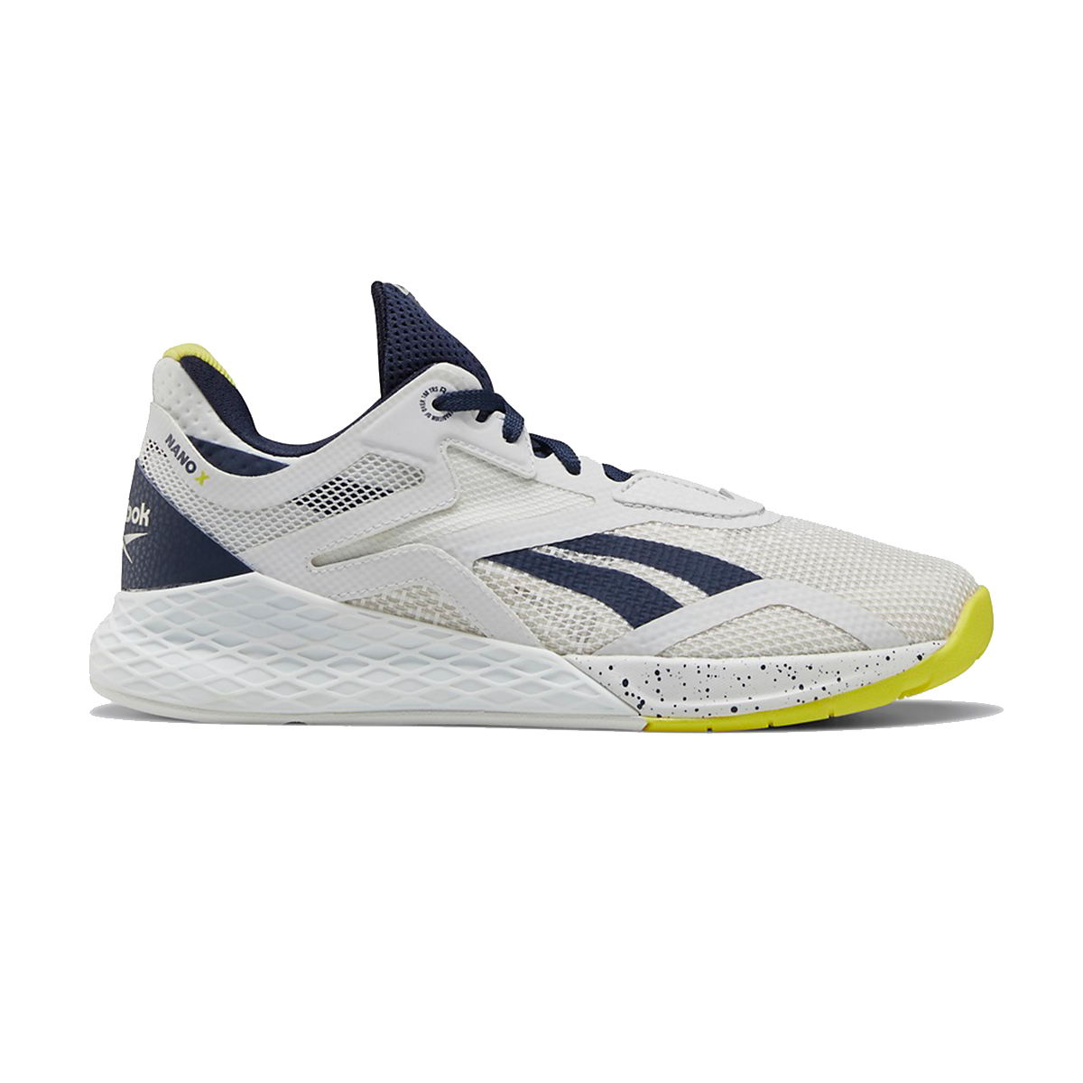 Women's Reebok Nano X Training Shoe - Color: True Grey/Vector Navy/Chartreuse - Size: 5 - Width: Regular, True Grey/Vector Navy/Chartreuse, large, image 1