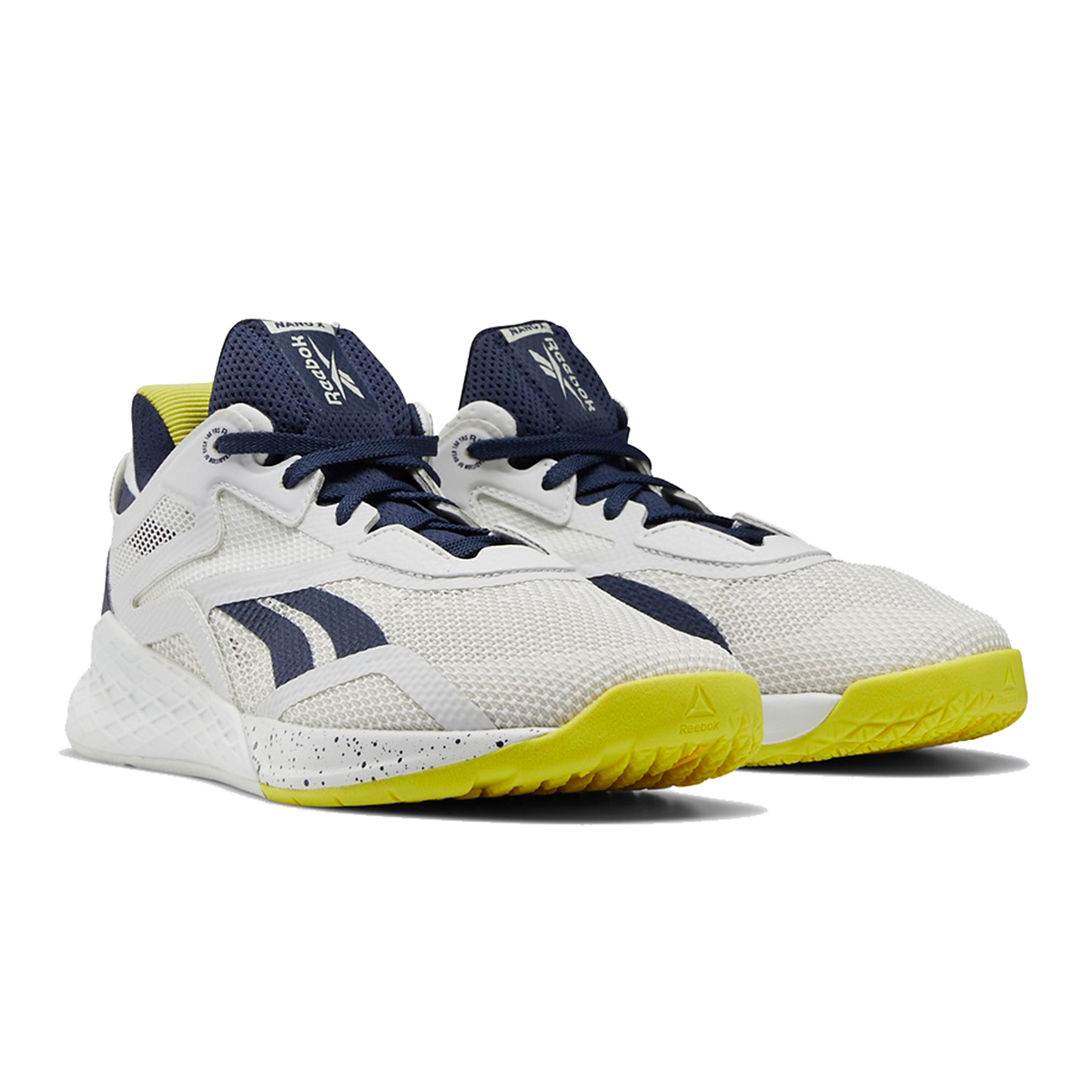 Women's Reebok Nano X Training Shoe - Color: True Grey/Vector Navy/Chartreuse - Size: 5 - Width: Regular, True Grey/Vector Navy/Chartreuse, large, image 2