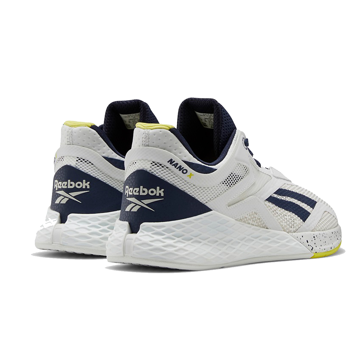 Women's Reebok Nano X Training Shoe - Color: True Grey/Vector Navy/Chartreuse - Size: 5 - Width: Regular, True Grey/Vector Navy/Chartreuse, large, image 3