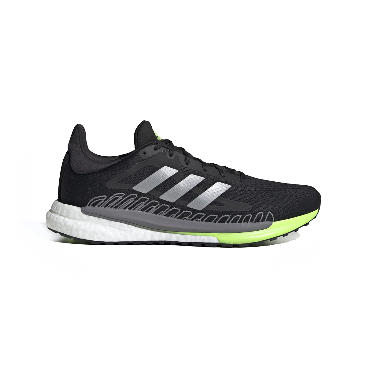 Men's Adidas Solarglide 3 Running Shoe - Color: Grey/Silver Metallic/Signal Green - Size: 6.5 - Width: Regular, Grey/Silver Metallic/Signal Green, large, image 1