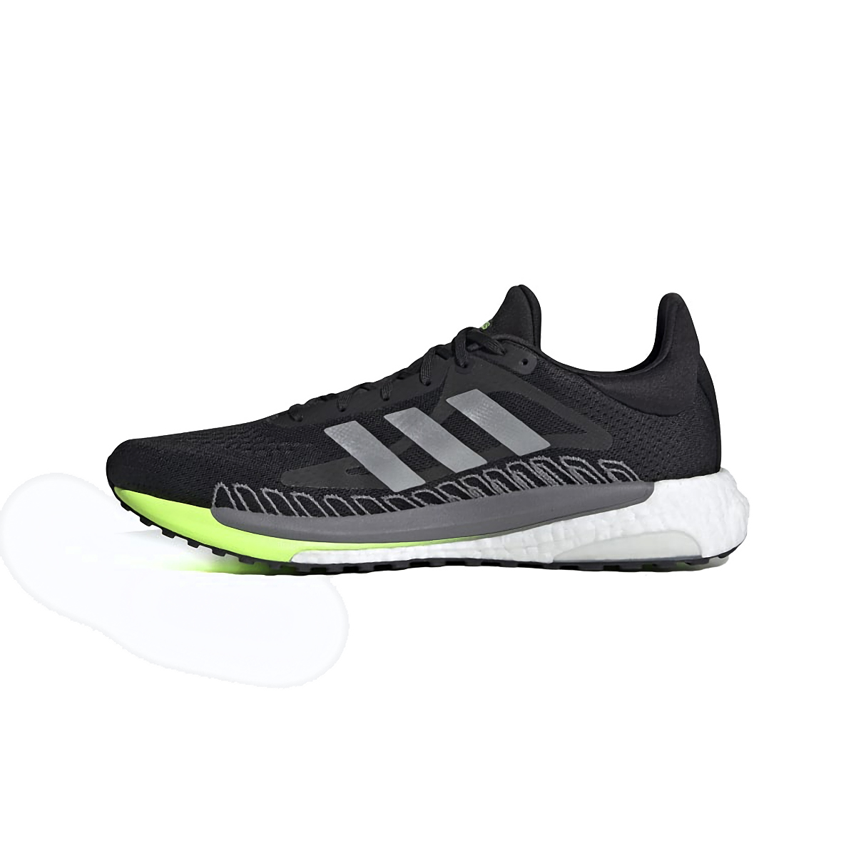 Men's Adidas Solarglide 3 Running Shoe - Color: Grey/Silver Metallic/Signal Green - Size: 6.5 - Width: Regular, Grey/Silver Metallic/Signal Green, large, image 2