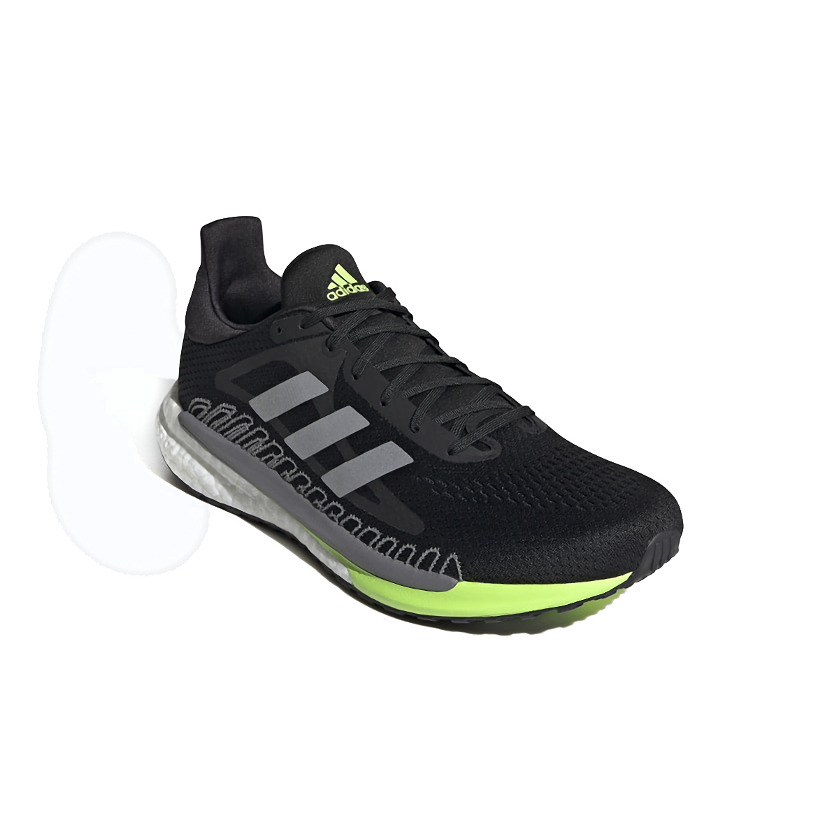 Men's Adidas Solarglide 3 Running Shoe - Color: Grey/Silver Metallic/Signal Green - Size: 6.5 - Width: Regular, Grey/Silver Metallic/Signal Green, large, image 4