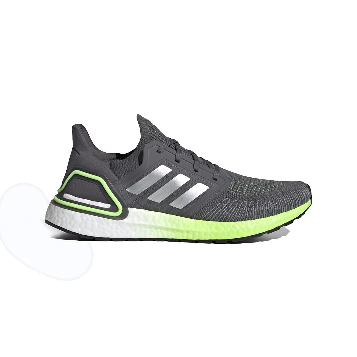 Men's Adidas Ultraboost 20 Running Shoe - Color: Grey/Silver Metallic/Signal Green  - Size: 6.5 - Width: Regular, Grey/Silver Metallic/Signal Green, large, image 1
