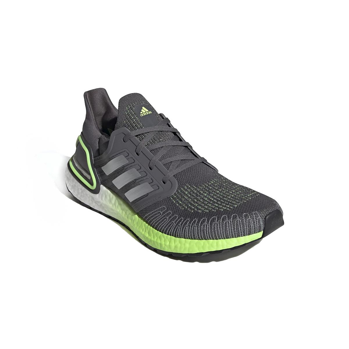Men's Adidas Ultraboost 20 Running Shoe - Color: Grey/Silver Metallic/Signal Green  - Size: 6.5 - Width: Regular, Grey/Silver Metallic/Signal Green, large, image 4