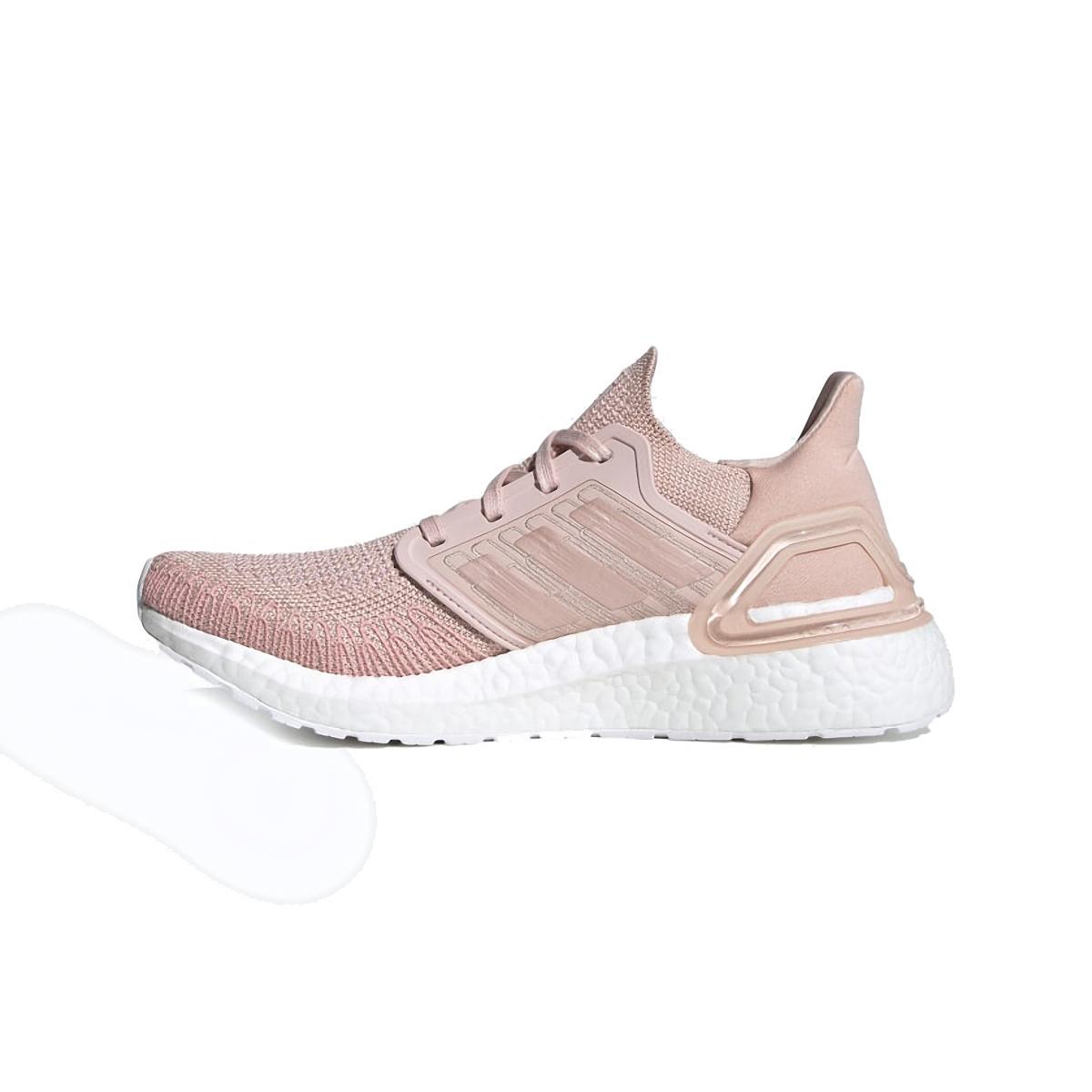 Women's Adidas Ultraboost 20 Running Shoe - Color: Vapour Pink/Cloud White - Size: 5 - Width: Regular, Vapour Pink/Cloud White, large, image 2