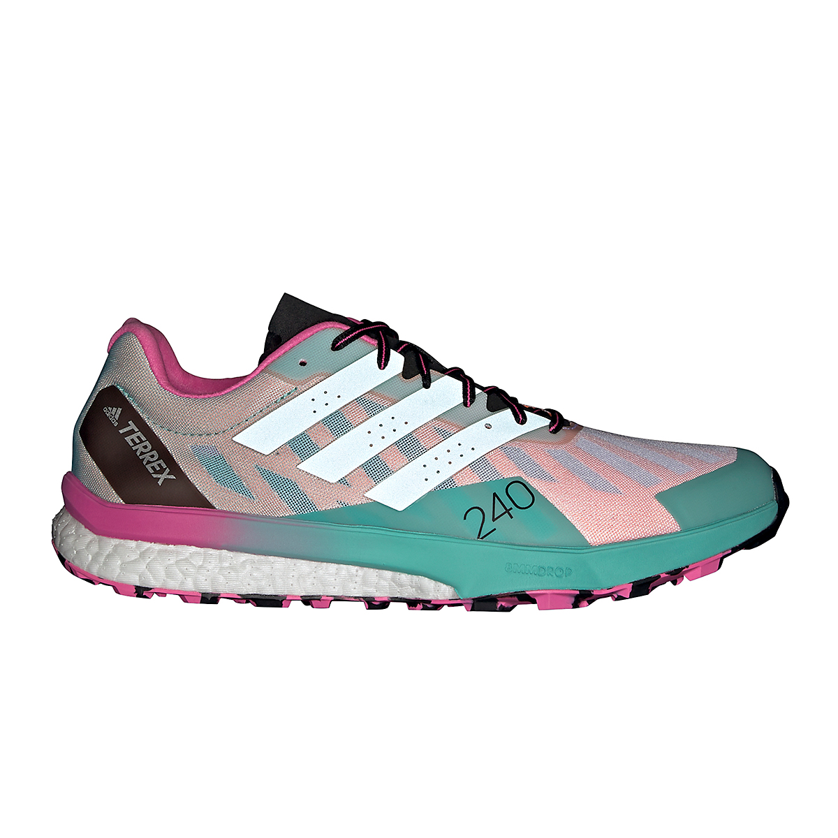 Men's Adidas Terrex Speed Ultra Trail Running Shoe - Color: White/Clear Mint/Screaming Pink - Size: 6.5 - Width: Regular, White/Clear Mint/Screaming Pink, large, image 1