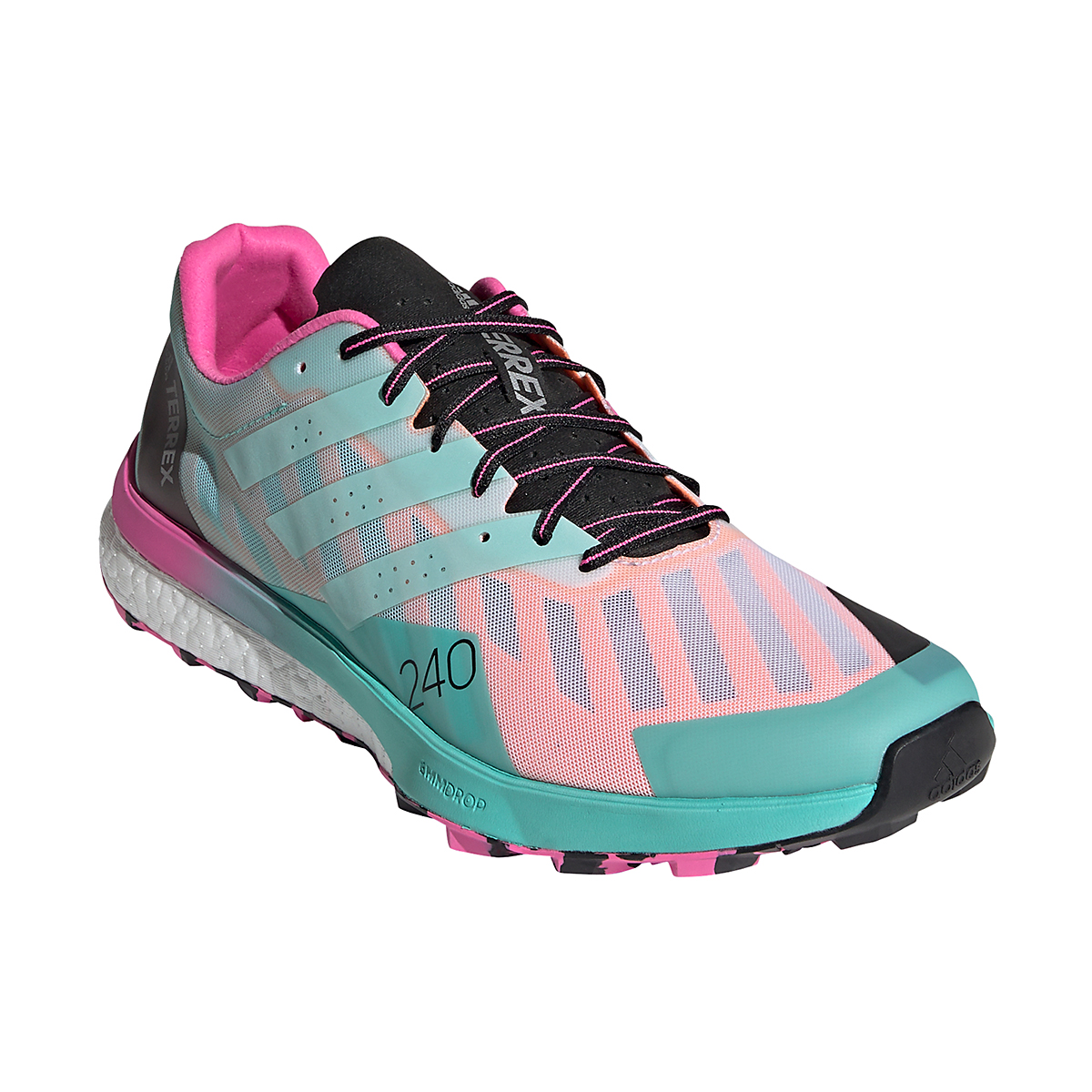 Men's Adidas Terrex Speed Ultra Trail Running Shoe - Color: White/Clear Mint/Screaming Pink - Size: 6.5 - Width: Regular, White/Clear Mint/Screaming Pink, large, image 2