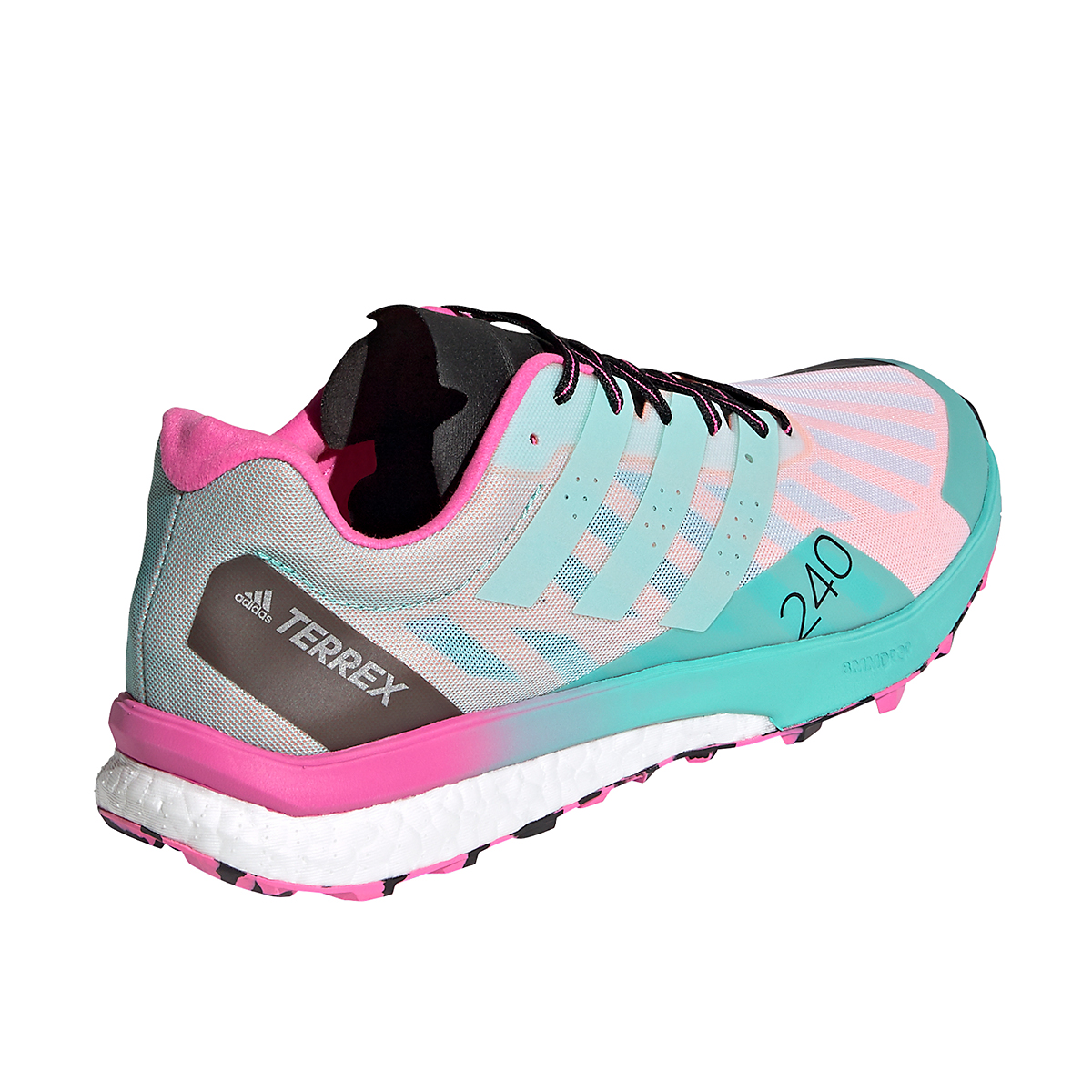 Men's Adidas Terrex Speed Ultra Trail Running Shoe - Color: White/Clear Mint/Screaming Pink - Size: 6.5 - Width: Regular, White/Clear Mint/Screaming Pink, large, image 3