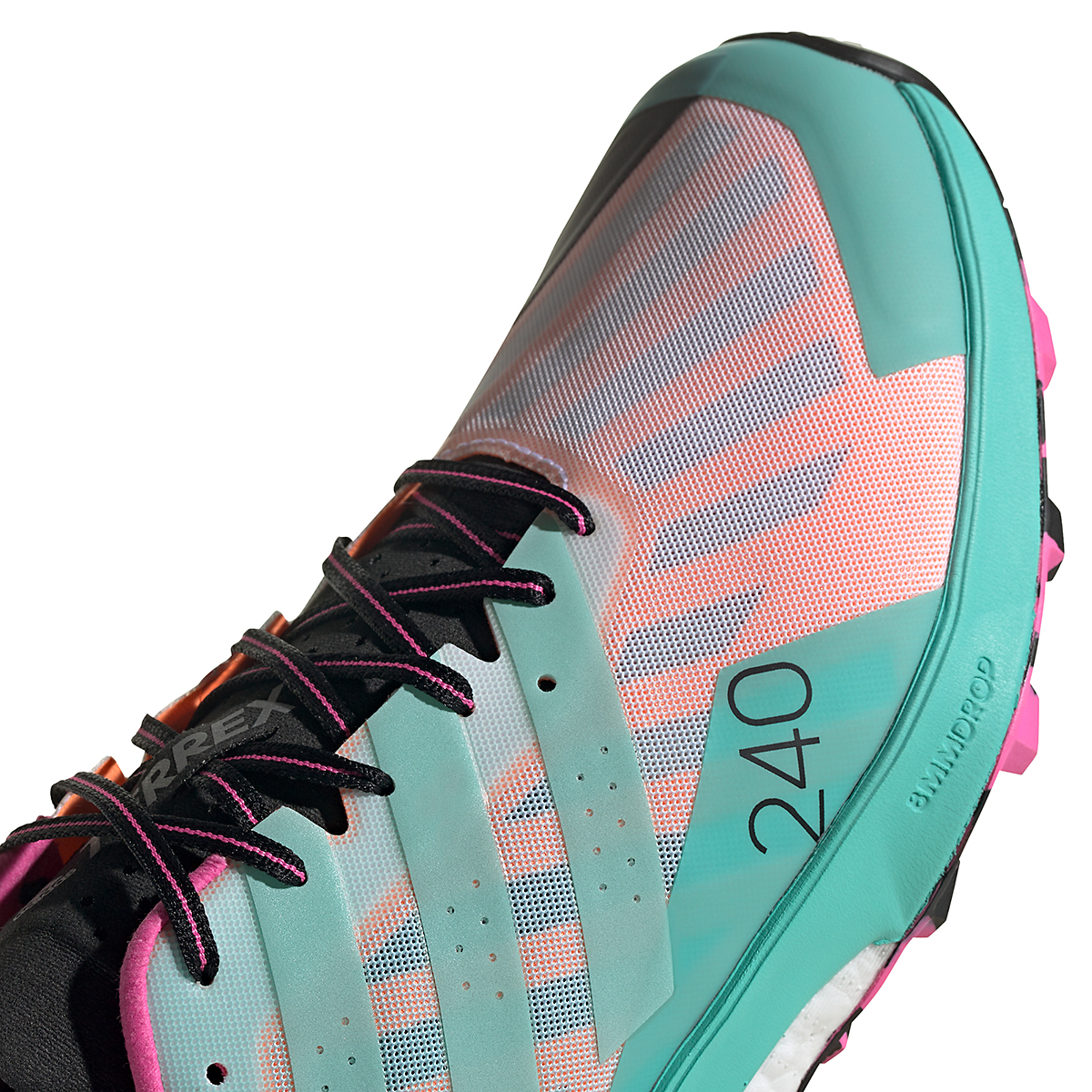 Men's Adidas Terrex Speed Ultra Trail Running Shoe - Color: White/Clear Mint/Screaming Pink - Size: 6.5 - Width: Regular, White/Clear Mint/Screaming Pink, large, image 4