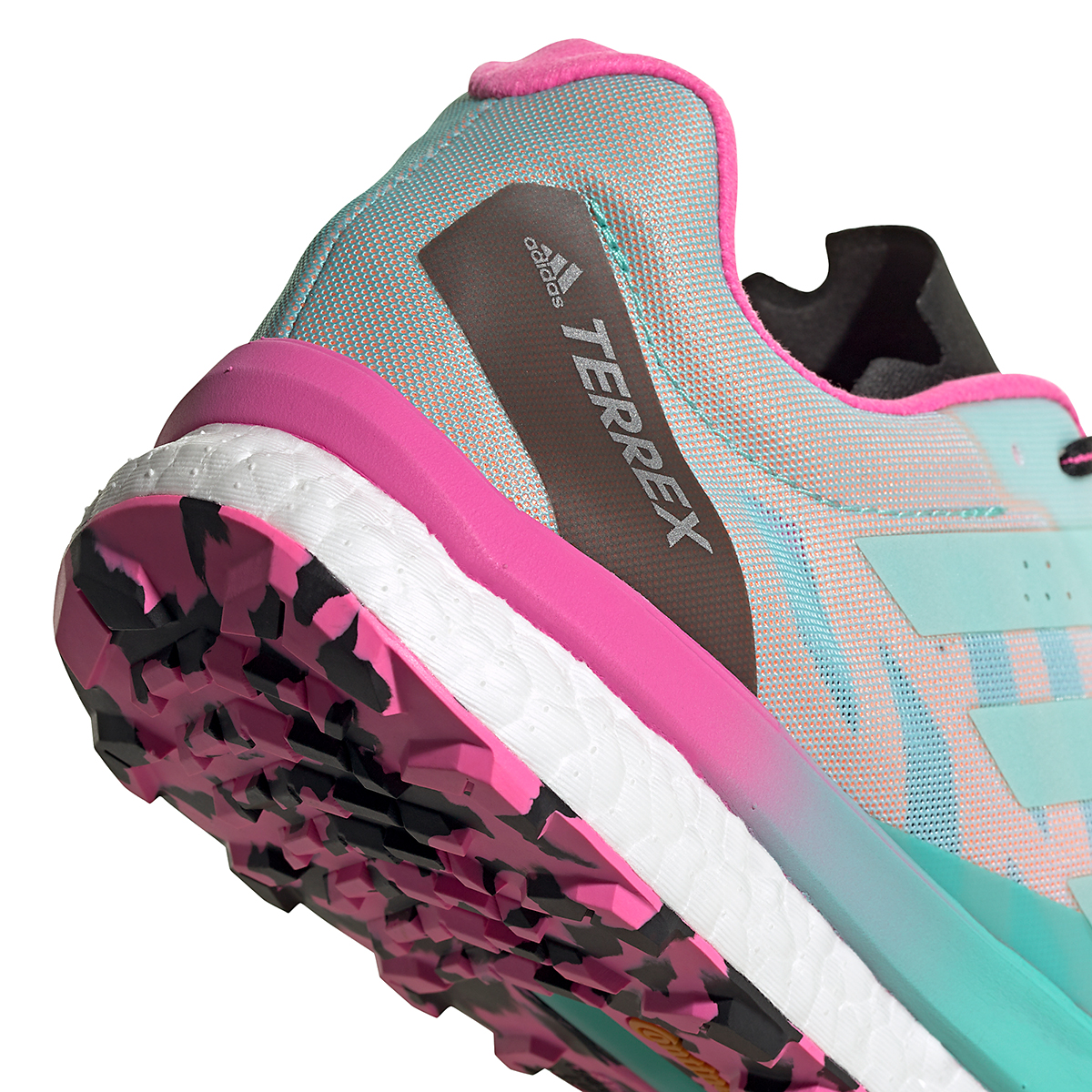 Men's Adidas Terrex Speed Ultra Trail Running Shoe - Color: White/Clear Mint/Screaming Pink - Size: 6.5 - Width: Regular, White/Clear Mint/Screaming Pink, large, image 5