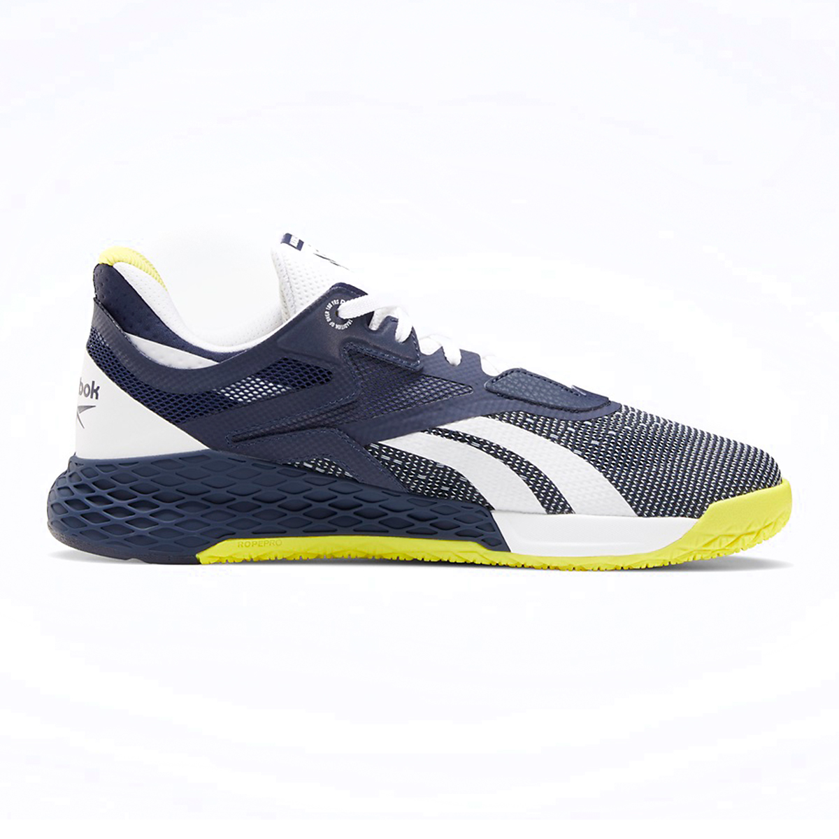 Men's Reebok Nano X Training Shoe - Color: Vector Navy/White/Chartreuse - Size: 6.5 - Width: Regular, Vector Navy/White/Chartreuse, large, image 1