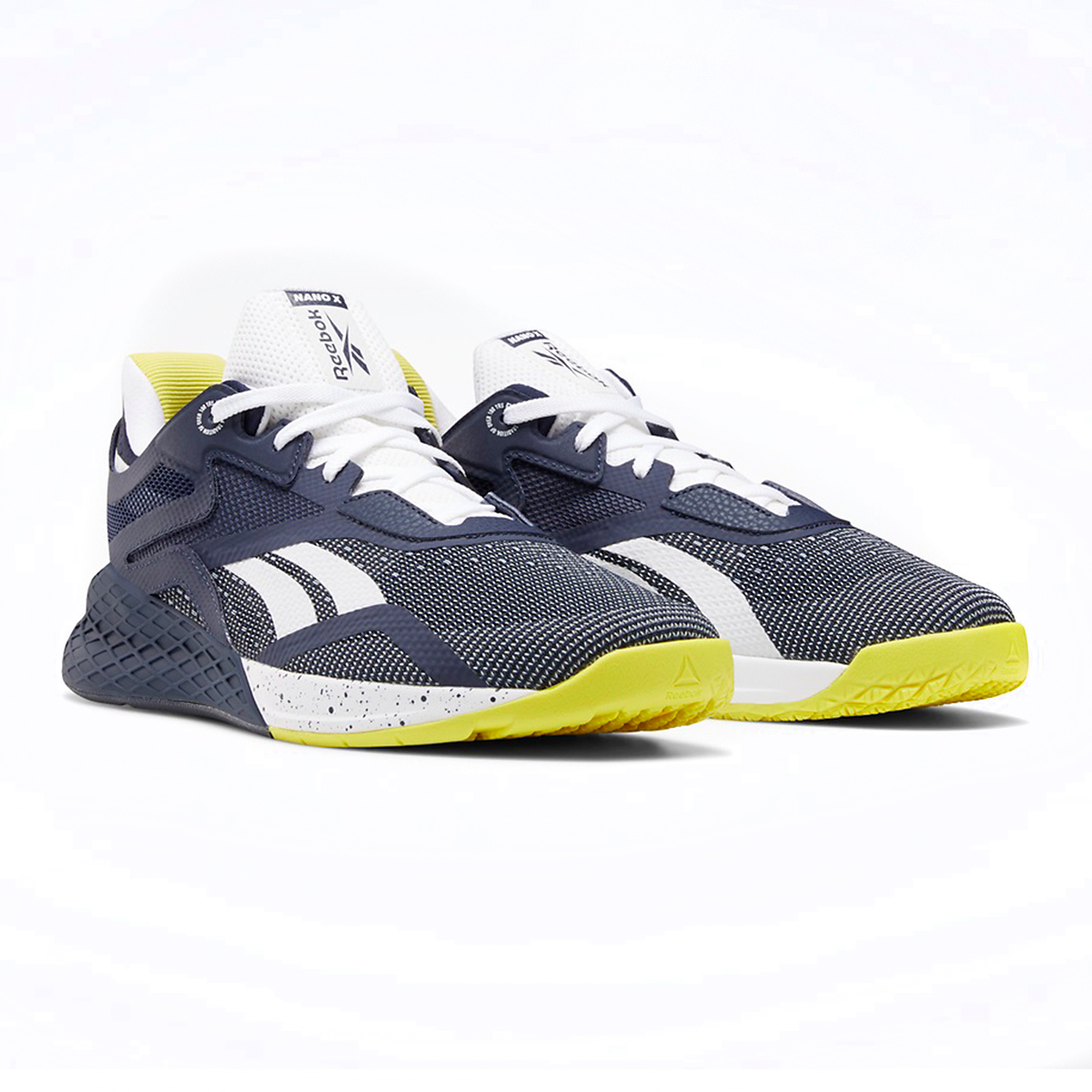 Men's Reebok Nano X Training Shoe - Color: Vector Navy/White/Chartreuse - Size: 6.5 - Width: Regular, Vector Navy/White/Chartreuse, large, image 2