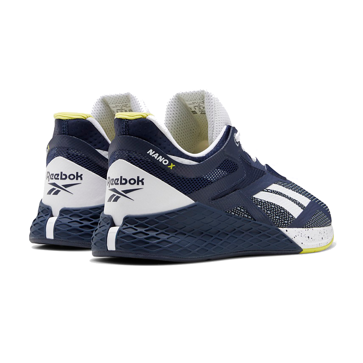 Men's Reebok Nano X Training Shoe - Color: Vector Navy/White/Chartreuse - Size: 6.5 - Width: Regular, Vector Navy/White/Chartreuse, large, image 3