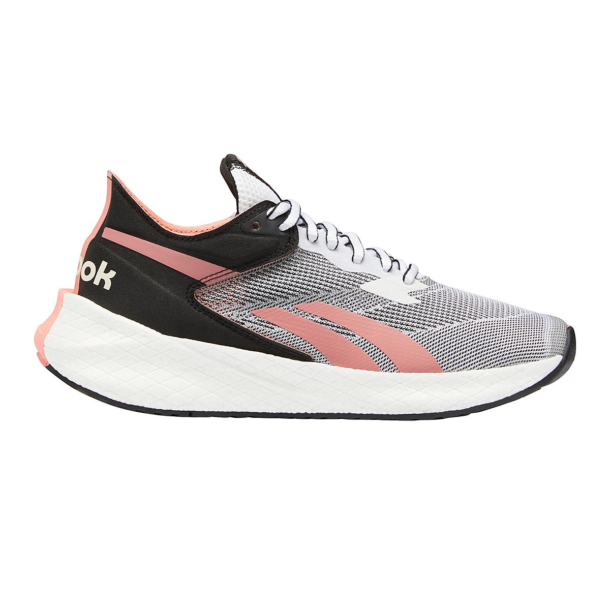 Women's Reebok Floatride Energy Symmetros Running Shoe - Color: White/Core Black/Twisted Coral - Size: 6.5 - Width: Regular, White/Core Black/Twisted Coral, large, image 1