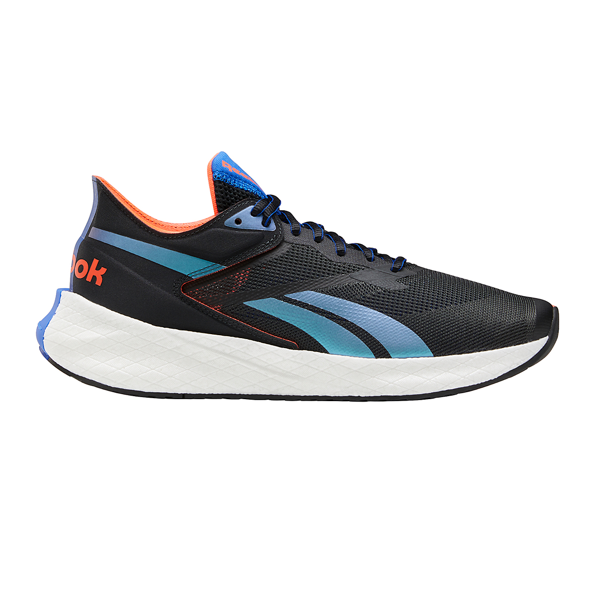 Men's Reebok Floatride Energy Symmetros Running Shoe - Color: Night Black/Court Blue/Orange Flare - Size: 7 - Width: Regular, Night Black/Court Blue/Orange Flare, large, image 1