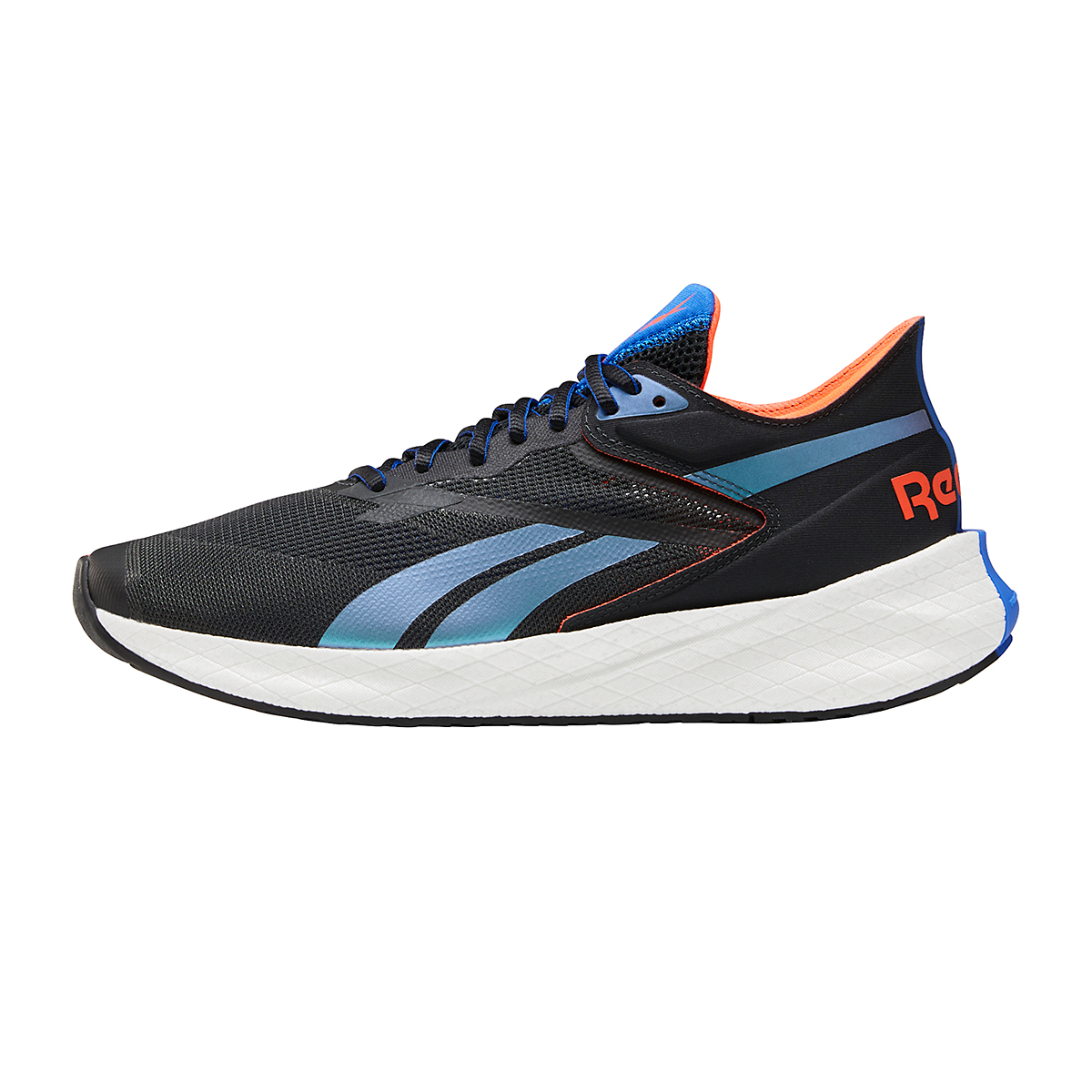 Men's Reebok Floatride Energy Symmetros Running Shoe - Color: Night Black/Court Blue/Orange Flare - Size: 7 - Width: Regular, Night Black/Court Blue/Orange Flare, large, image 2