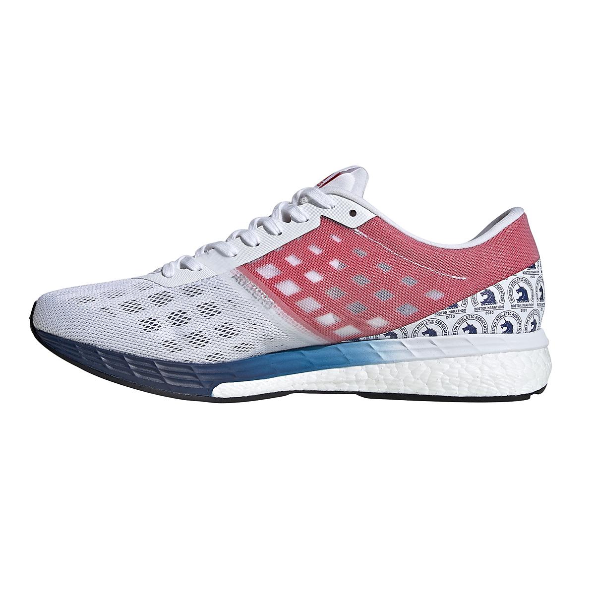 Men's Adidas Adizero Boston 9 Running Shoe - Color: Cloud White/Silver Metallic/Scarlet - Size: 8 - Width: Regular, Cloud White/Silver Metallic/Scarlet, large, image 2