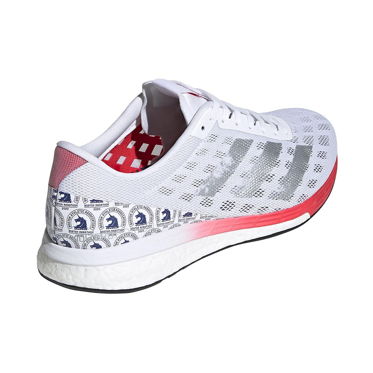 Men's Adidas Adizero Boston 9 Running Shoe - Color: Cloud White/Silver Metallic/Scarlet - Size: 8 - Width: Regular, Cloud White/Silver Metallic/Scarlet, large, image 3