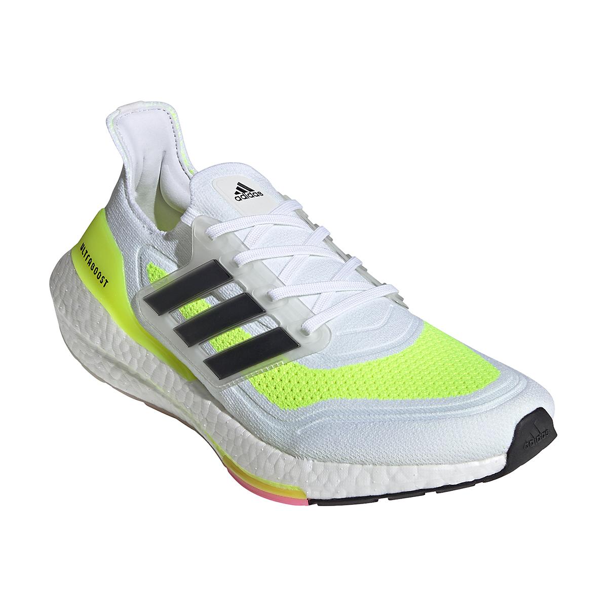 Men's Adidas Ultraboost 21 Running Shoe - Color: Cloud White/Black/Solar Yellow - Size: 5 - Width: Regular, Cloud White/Black/Solar Yellow, large, image 2
