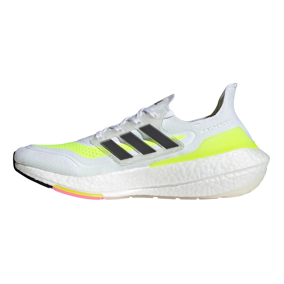 Men's Adidas Ultraboost 21 Running Shoe - Color: Cloud White/Black/Solar Yellow - Size: 5 - Width: Regular, Cloud White/Black/Solar Yellow, large, image 3